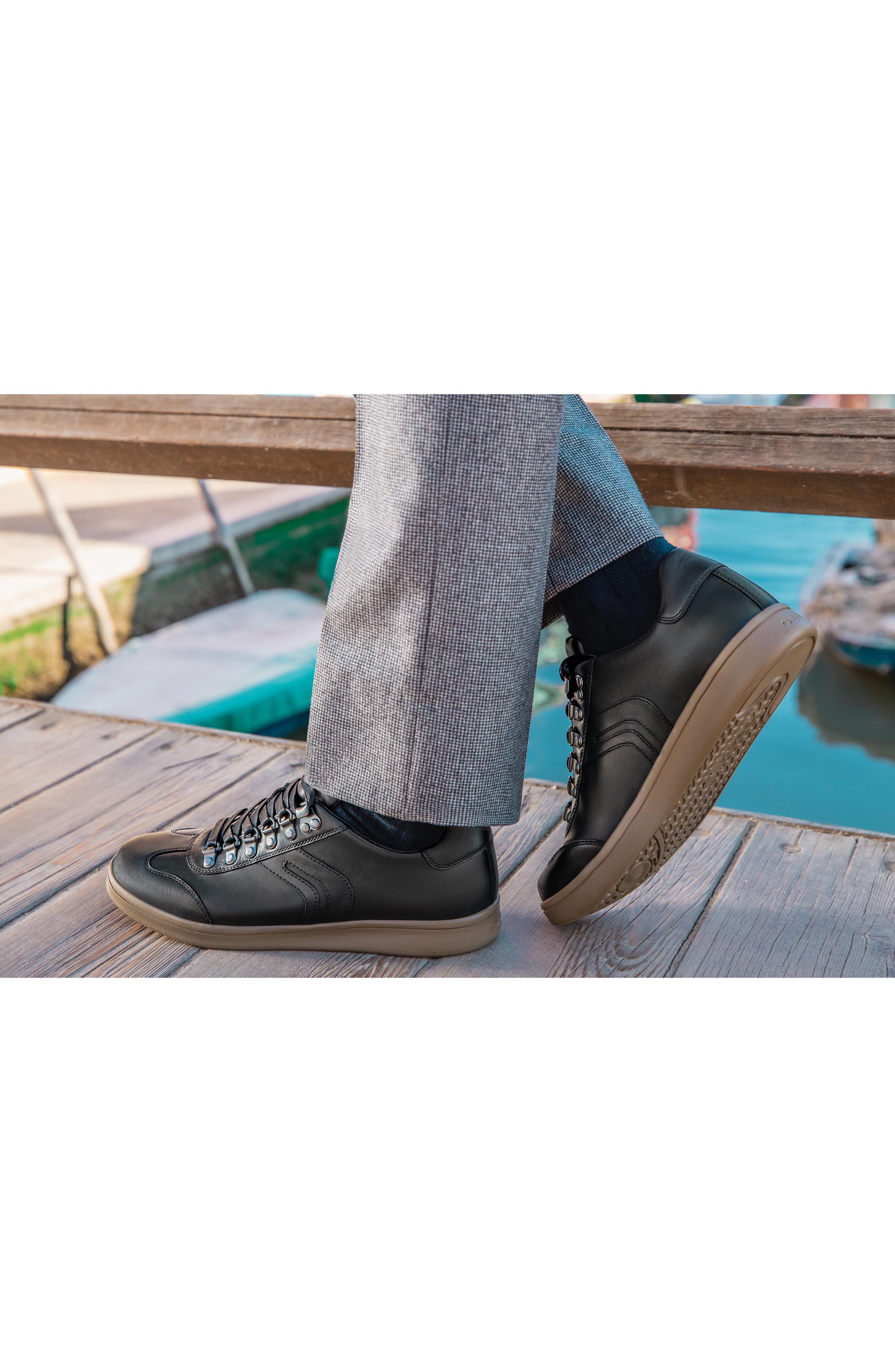 Warrens 12 Low Top Sneaker,                             Alternate thumbnail 9, color,                             BLACK LEATHER