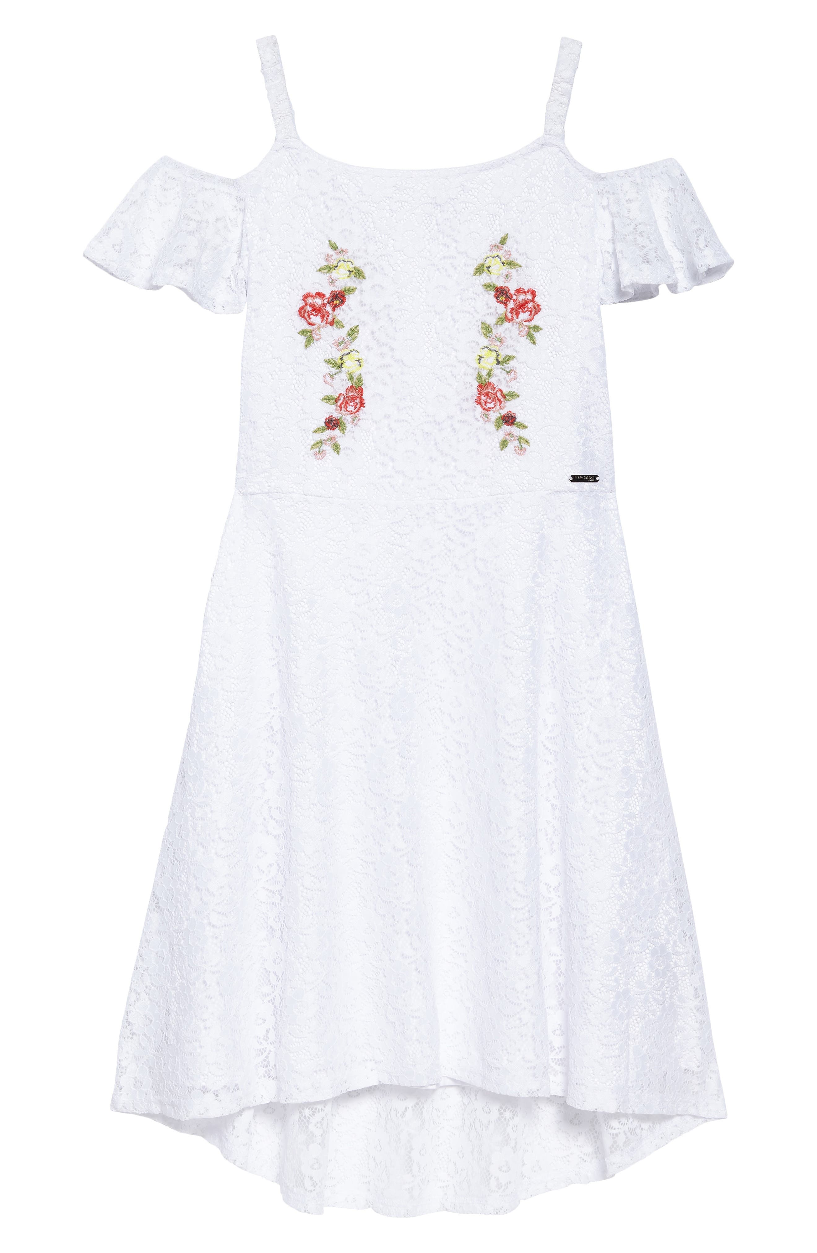 MARCIANO Embroidered Lace Cold Shoulder Dress, Main, color, 118