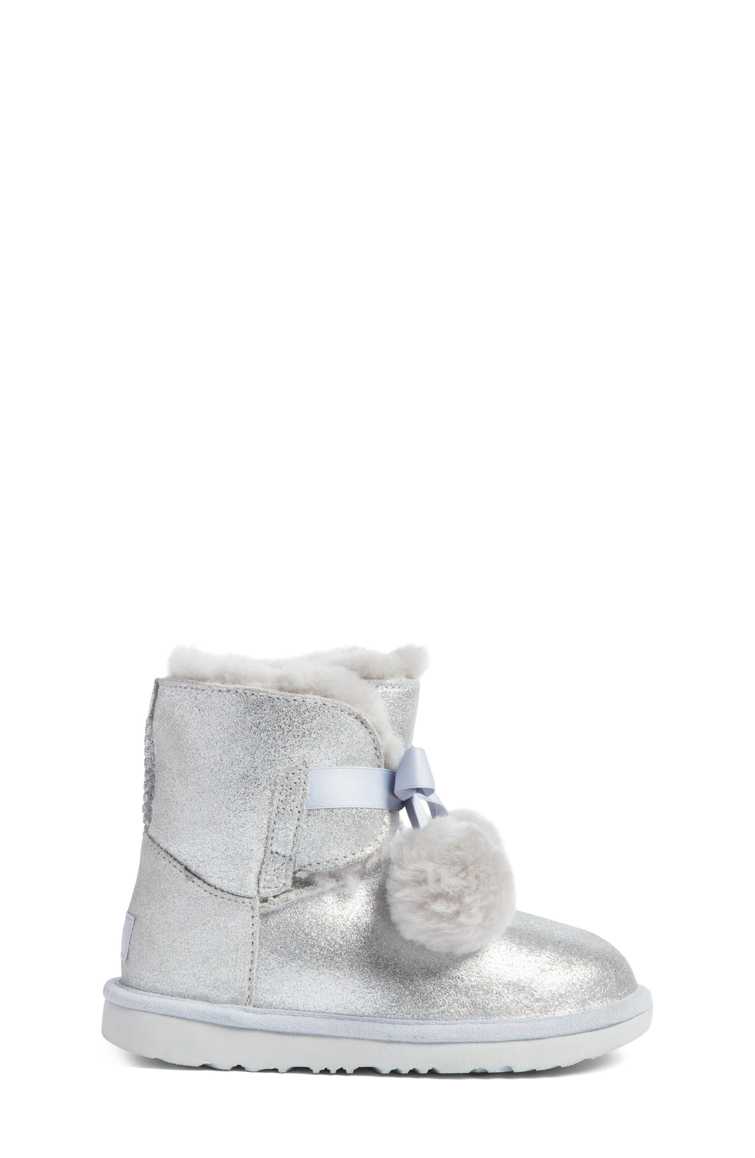 Gita Metallic Genuine Shearling Pom Boot,                             Alternate thumbnail 3, color,                             SILVER