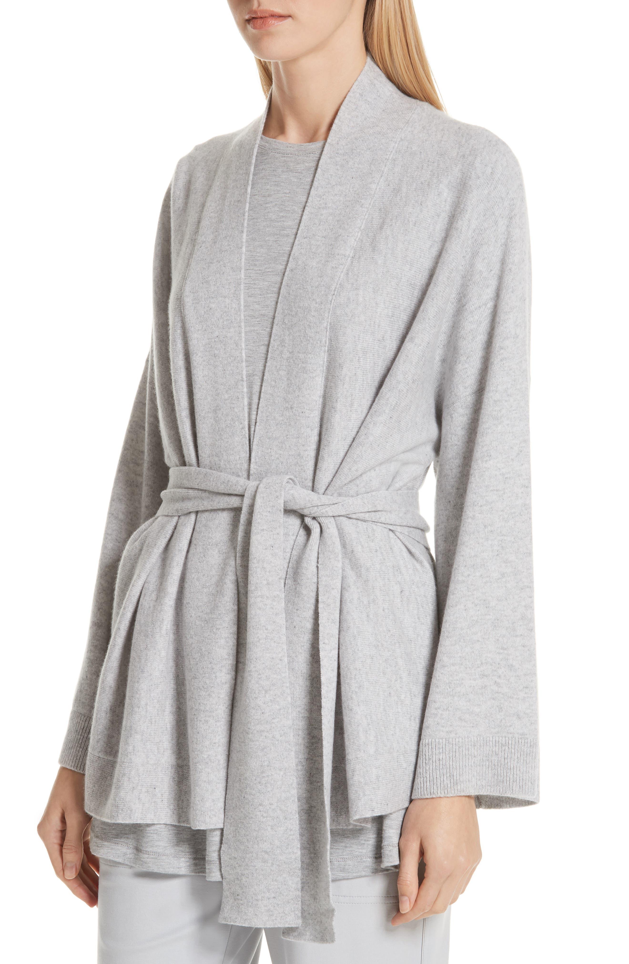 Cashmere Kimono Cardigan,                             Alternate thumbnail 4, color,                             GREY HEATHER