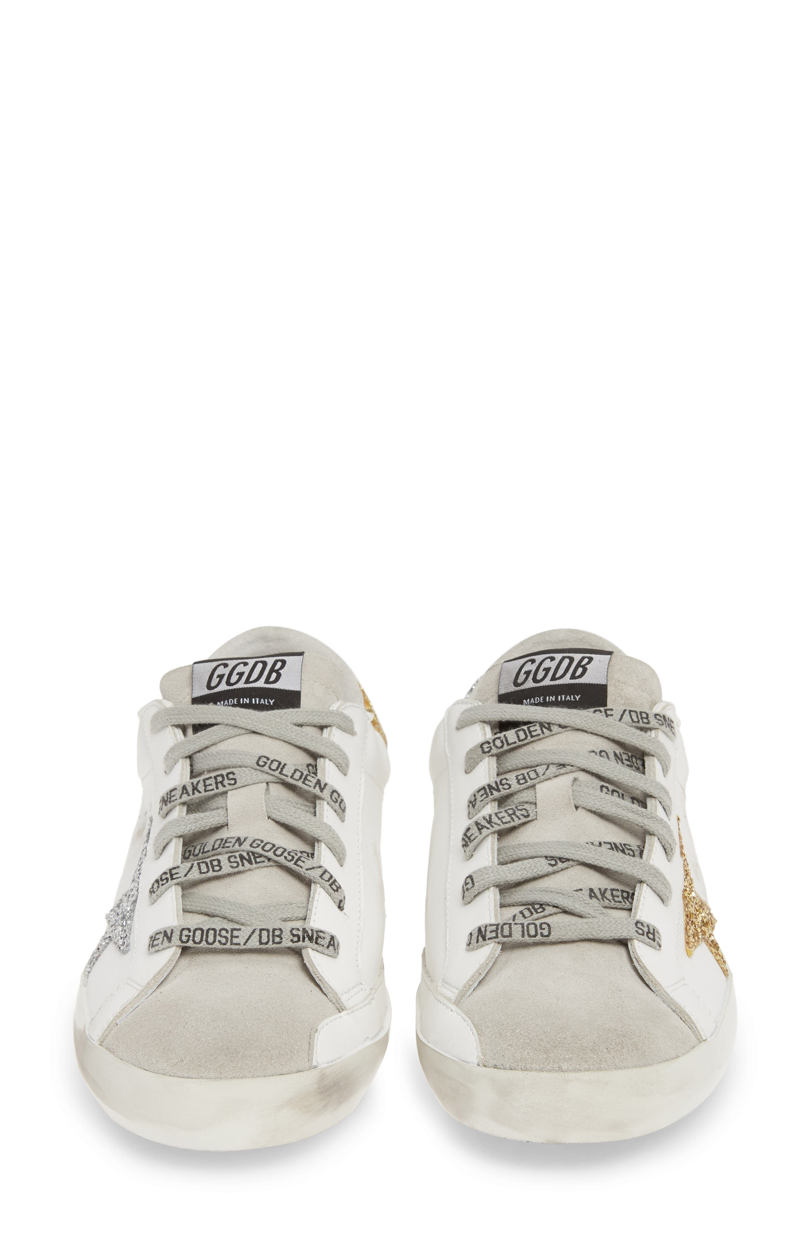 Superstar Low Top Sneaker,                             Alternate thumbnail 5, color,                             WHITE/ GOLD/ SILVER