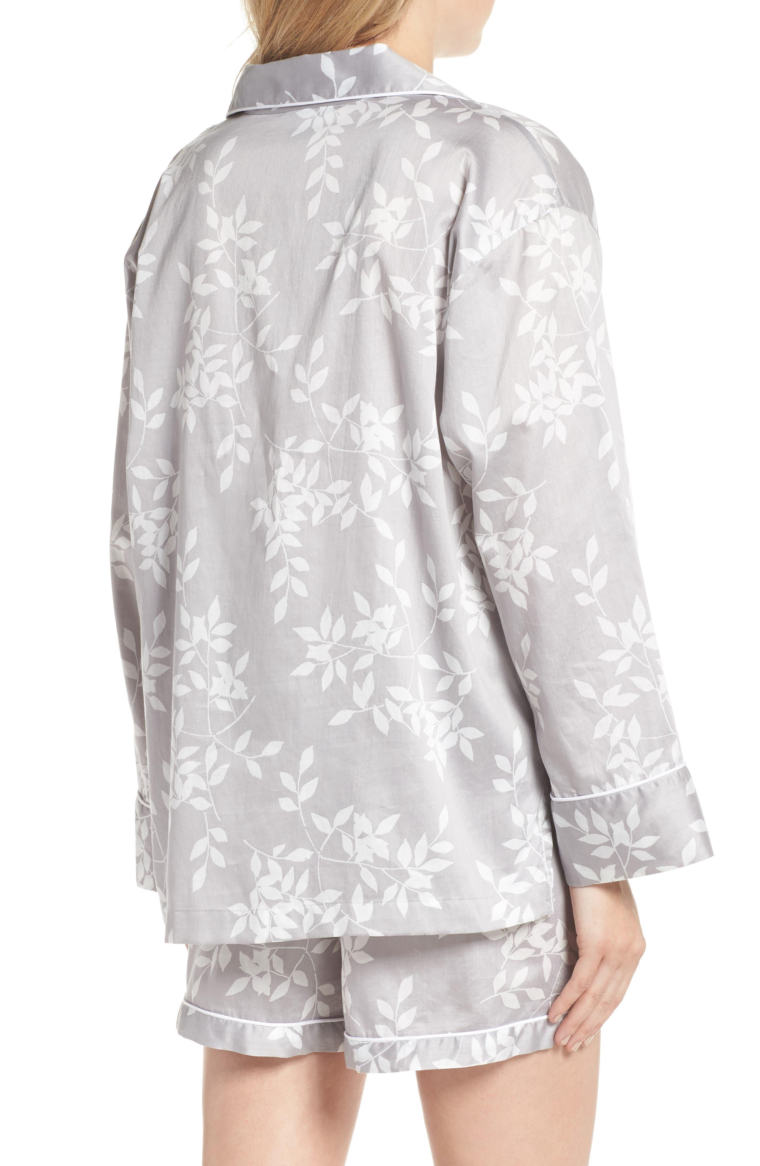 Branch Print Cotton Sateen Short Pajamas,                             Alternate thumbnail 2, color,                             021