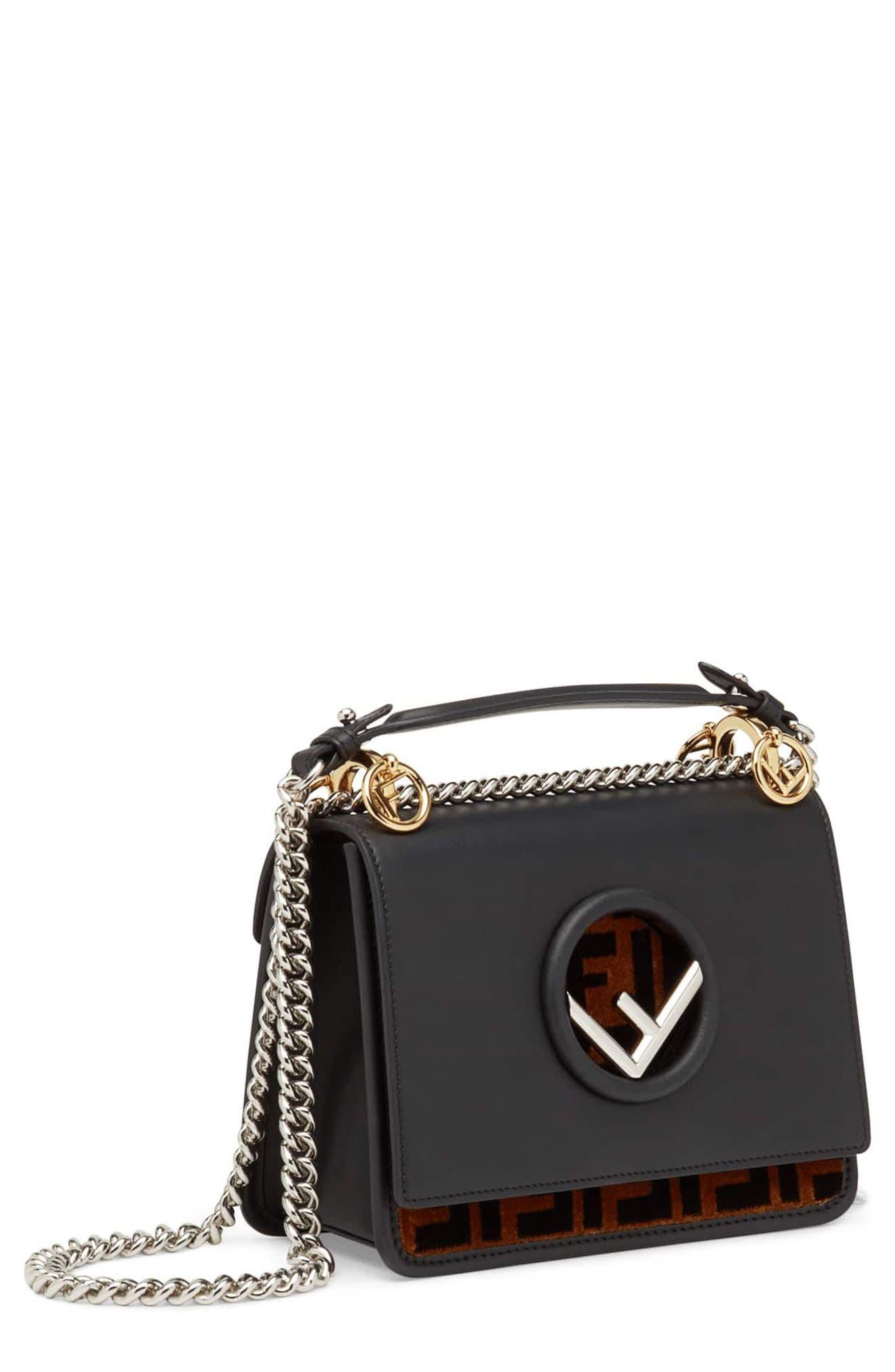 Small Kan I Logo Leather Shoulder Bag,                         Main,                         color, NERO/ TOBACCO/ PALLADIO