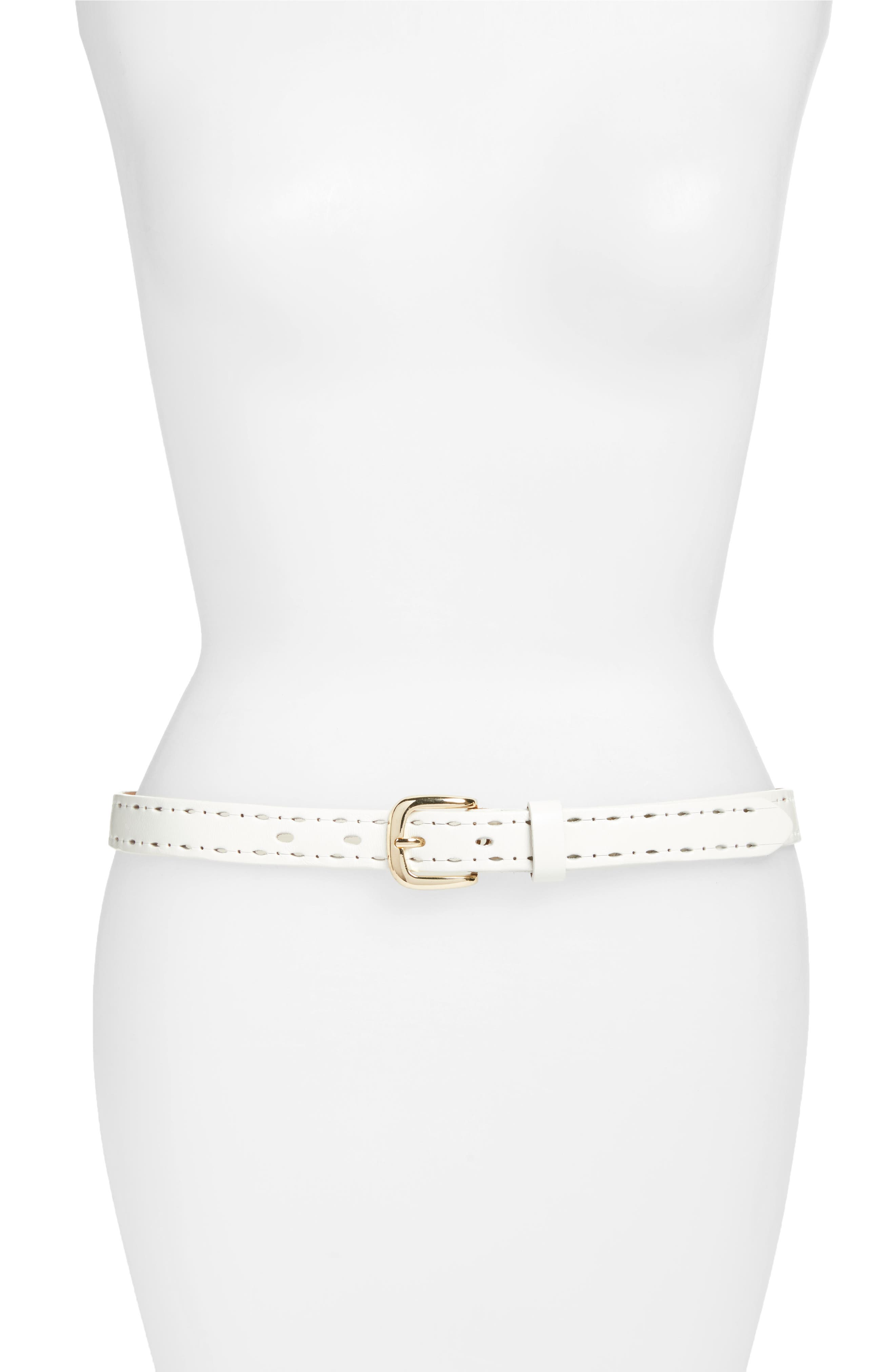 Trevor Perforated Leather Hip Belt,                             Main thumbnail 1, color,                             WHITE