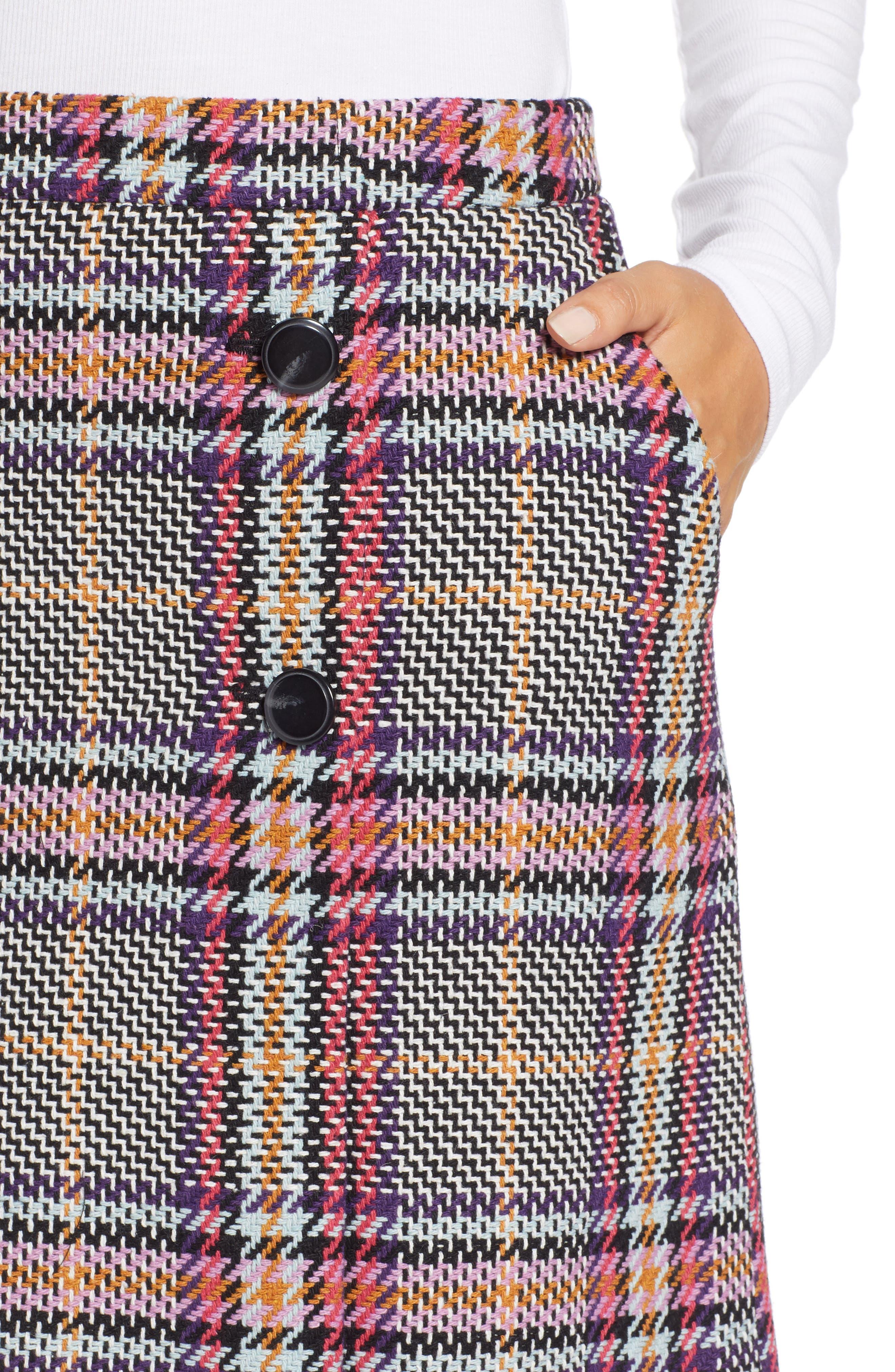 Button Detail Plaid Skirt,                             Alternate thumbnail 4, color,                             530