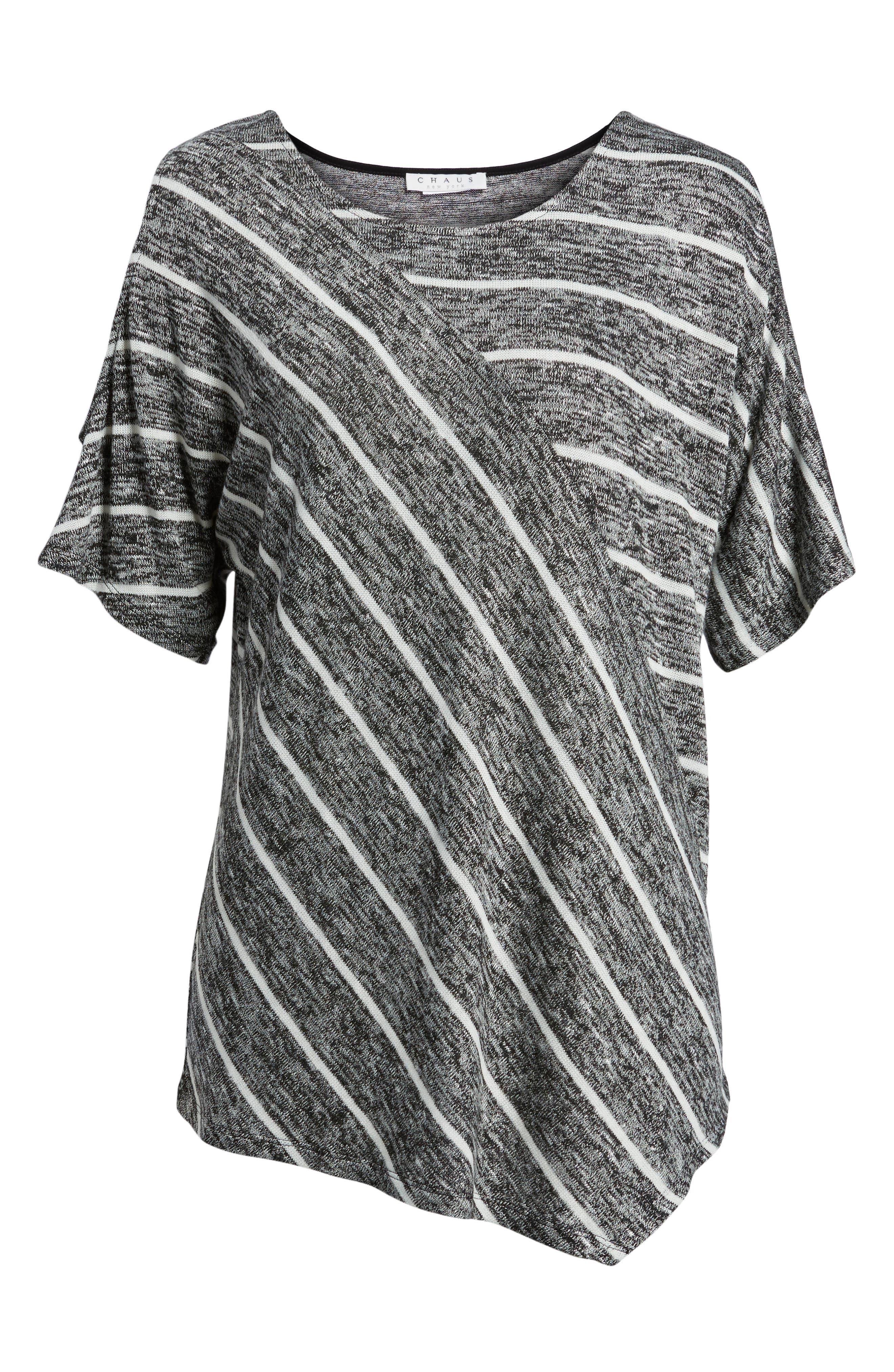 Cold Shoulder Marled Stripe Top,                             Alternate thumbnail 6, color,                             001