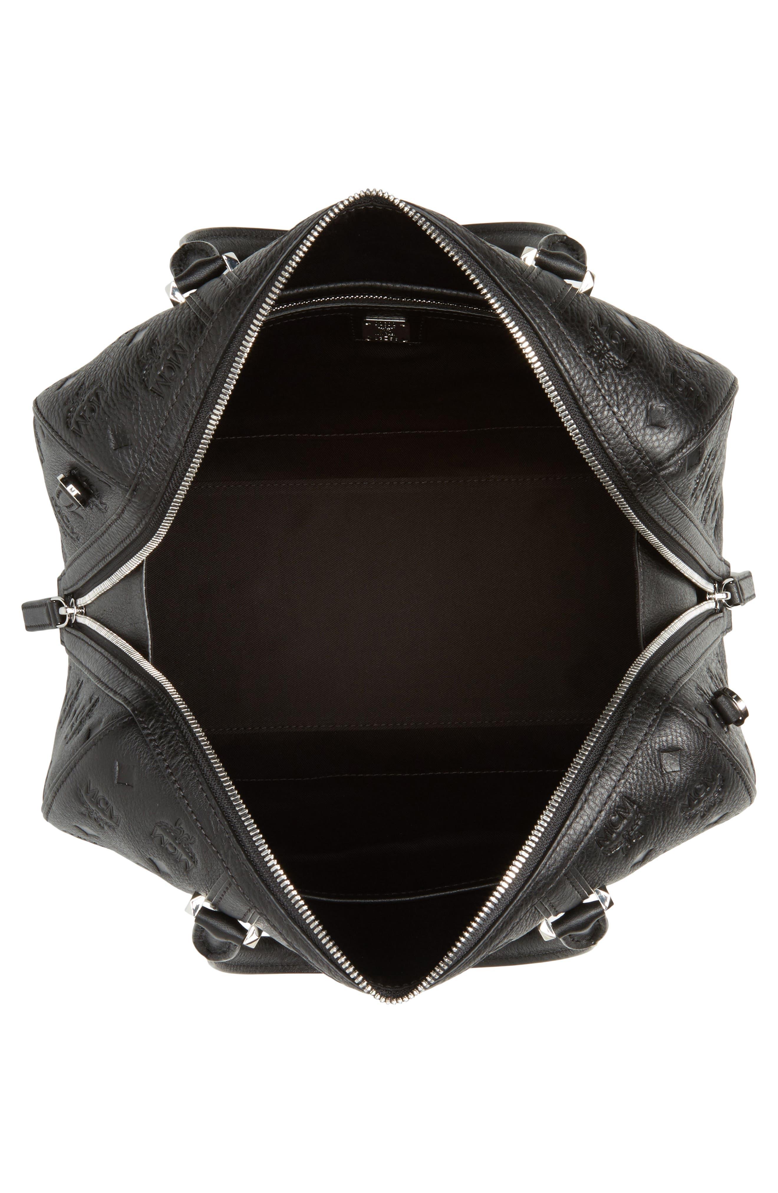 Signature Monogram Embossed Leather Crossbody Bag,                             Alternate thumbnail 4, color,                             001