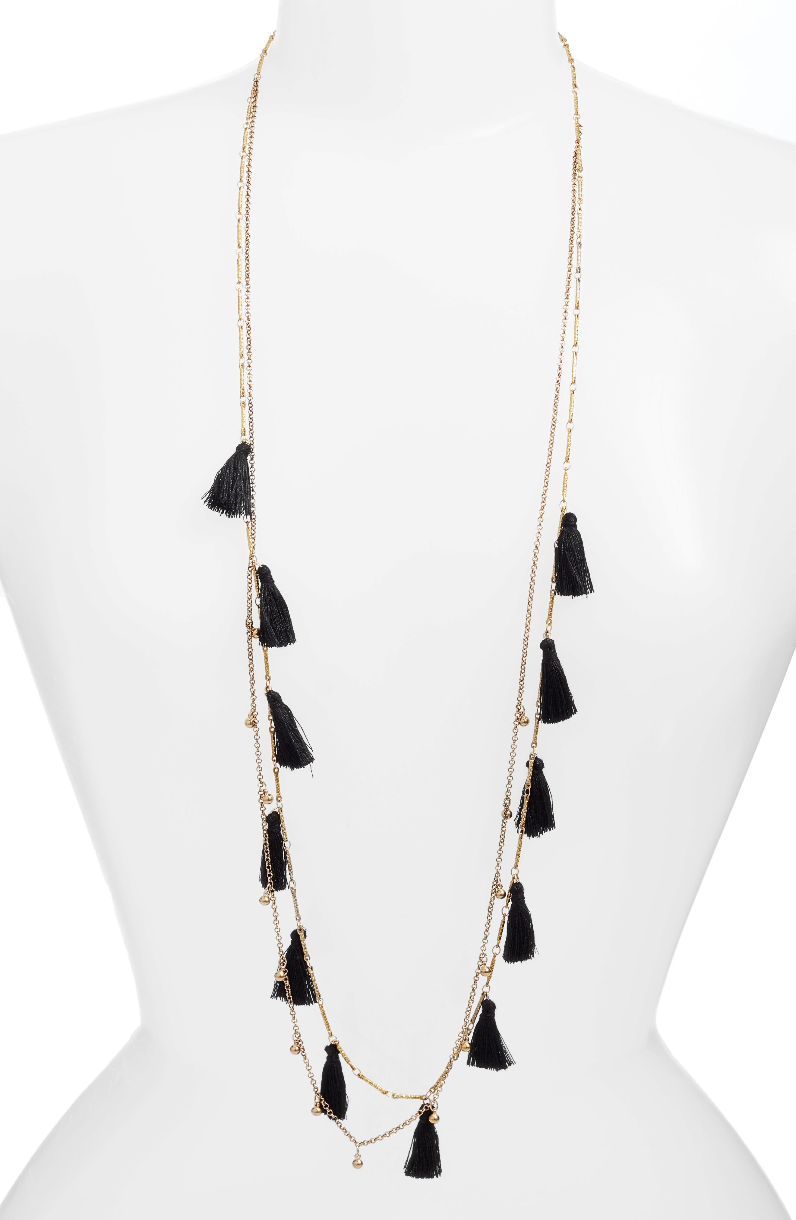 Long Tassel Necklace,                             Main thumbnail 1, color,                             001