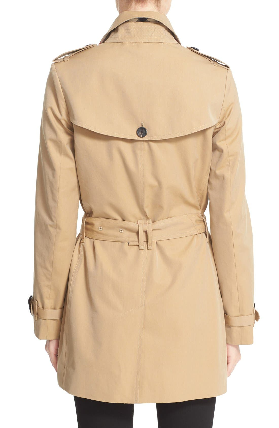 Kensington Short Trench Coat,                             Alternate thumbnail 8, color,                             HONEY