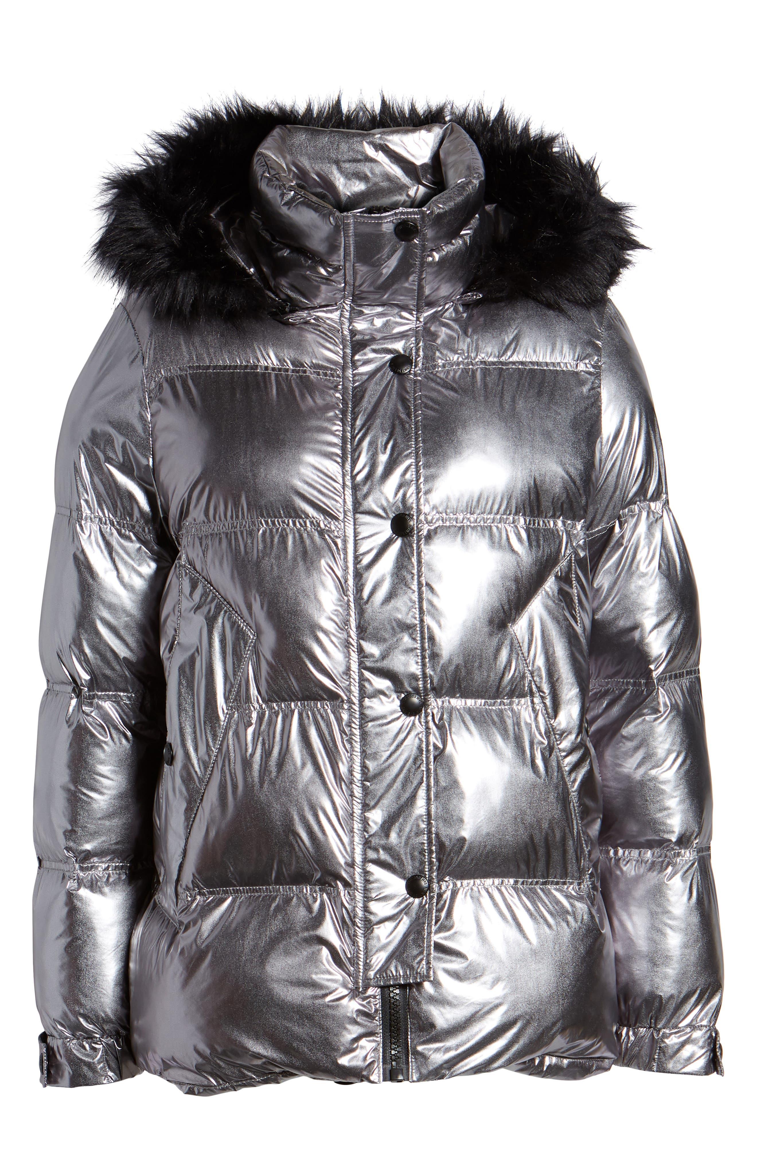 Faux Fur Trim Hooded Puffer Coat,                             Alternate thumbnail 6, color,                             GUNMETAL