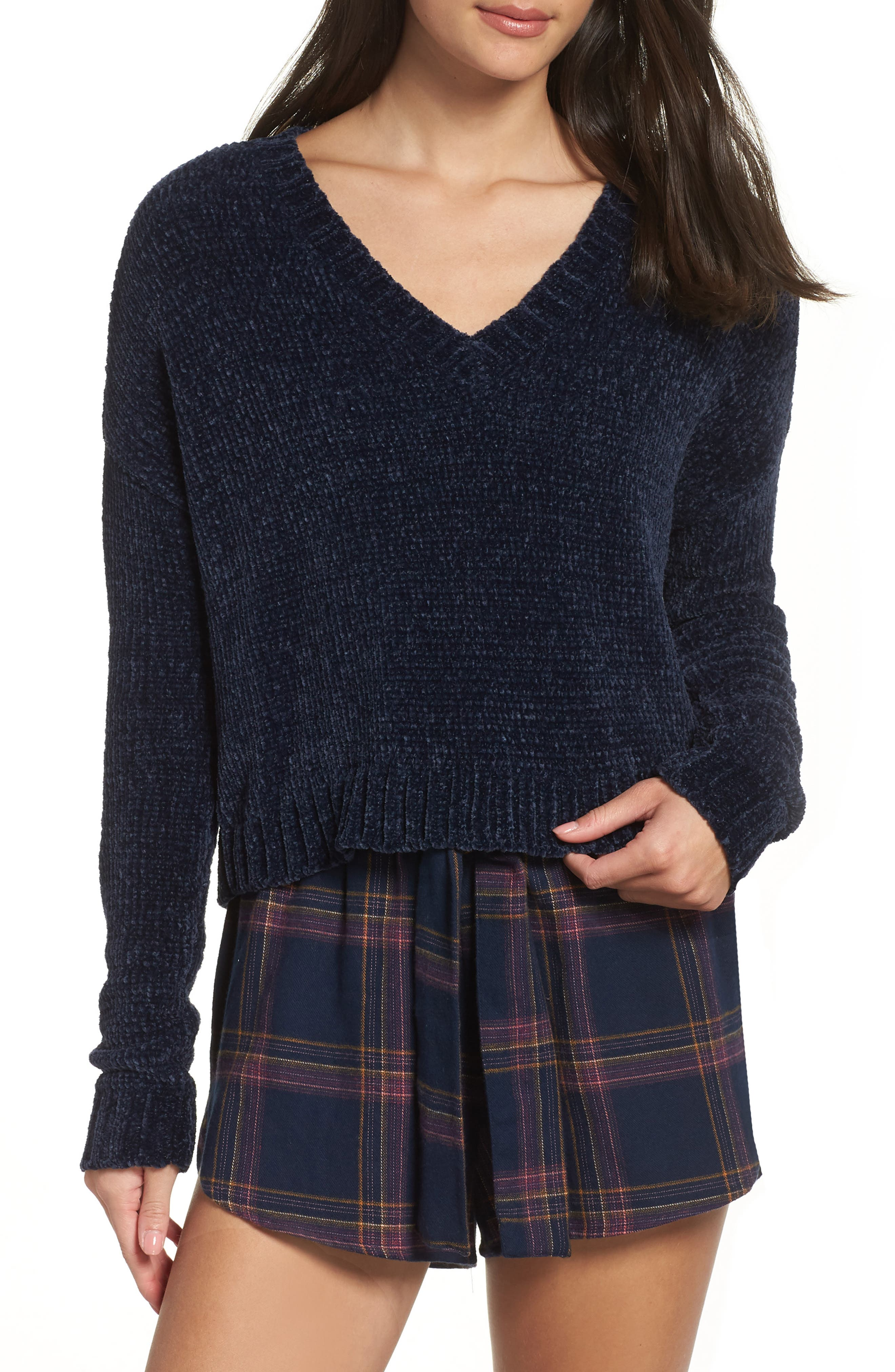 Crop Chenille Sweater,                             Main thumbnail 1, color,                             410