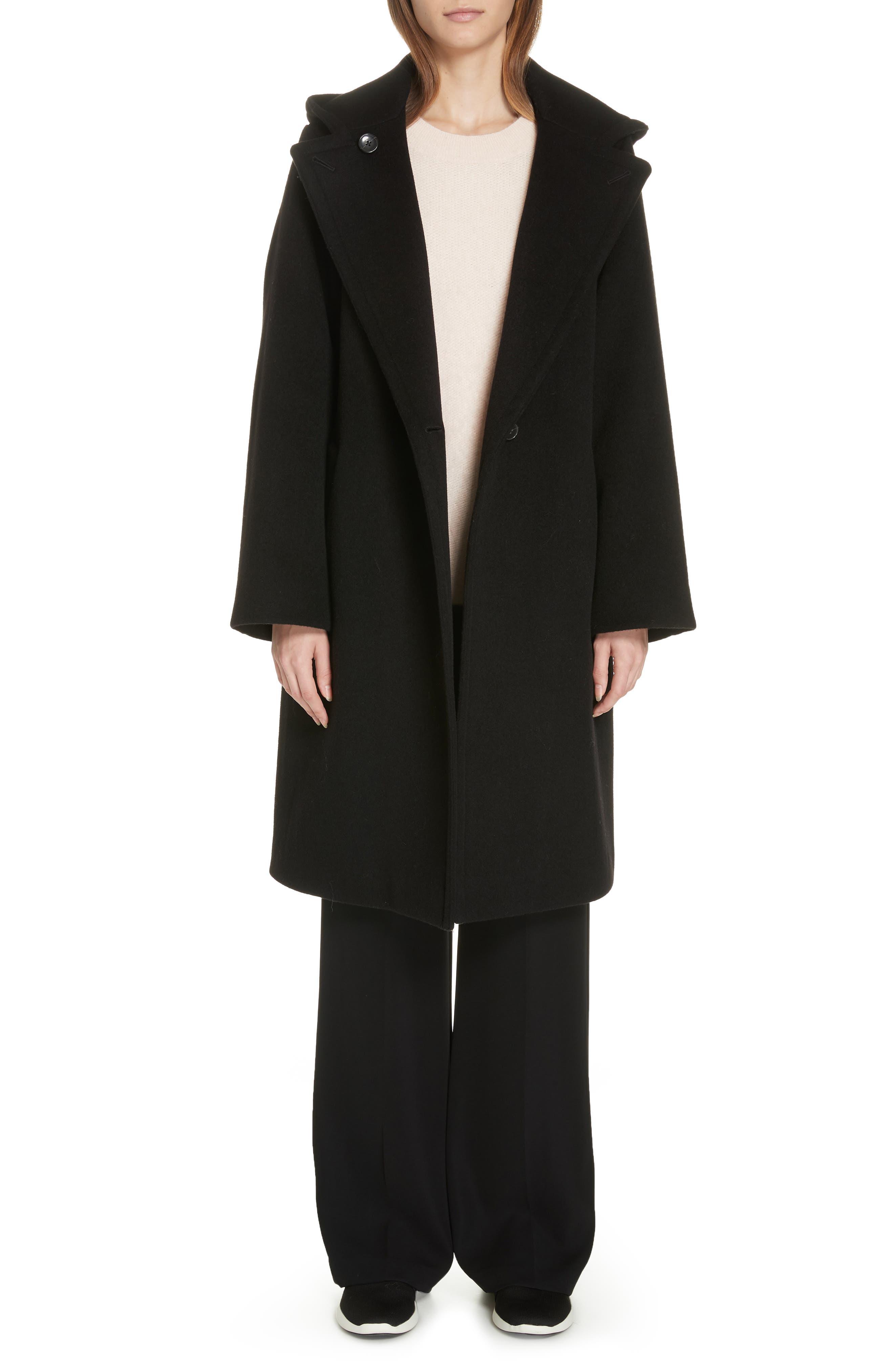 VINCE Hooded Coat, Main, color, BLACK