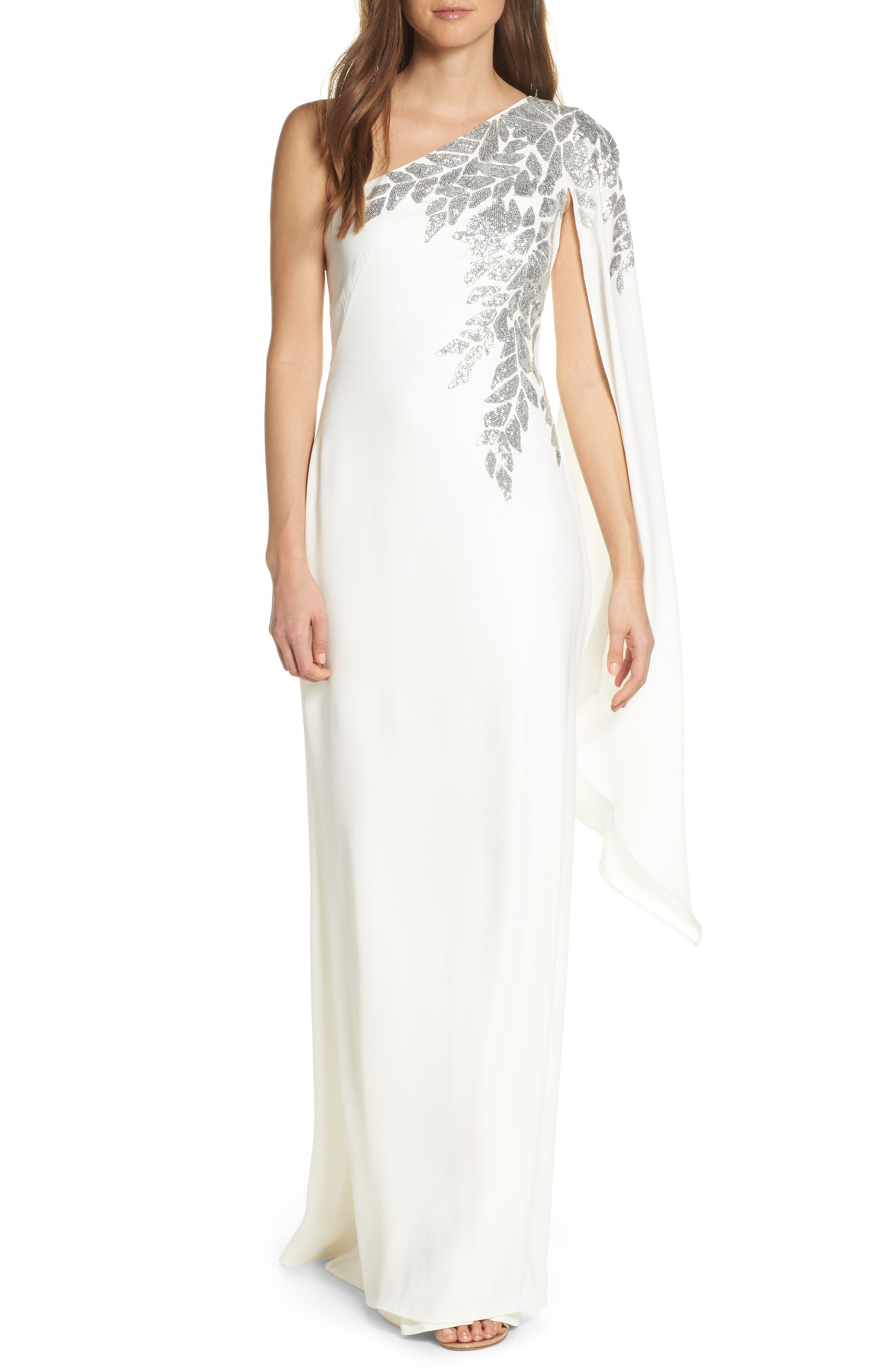 Cape Sleeve Crepe Evening Dress,                             Main thumbnail 1, color,                             IVORY/ SILVER