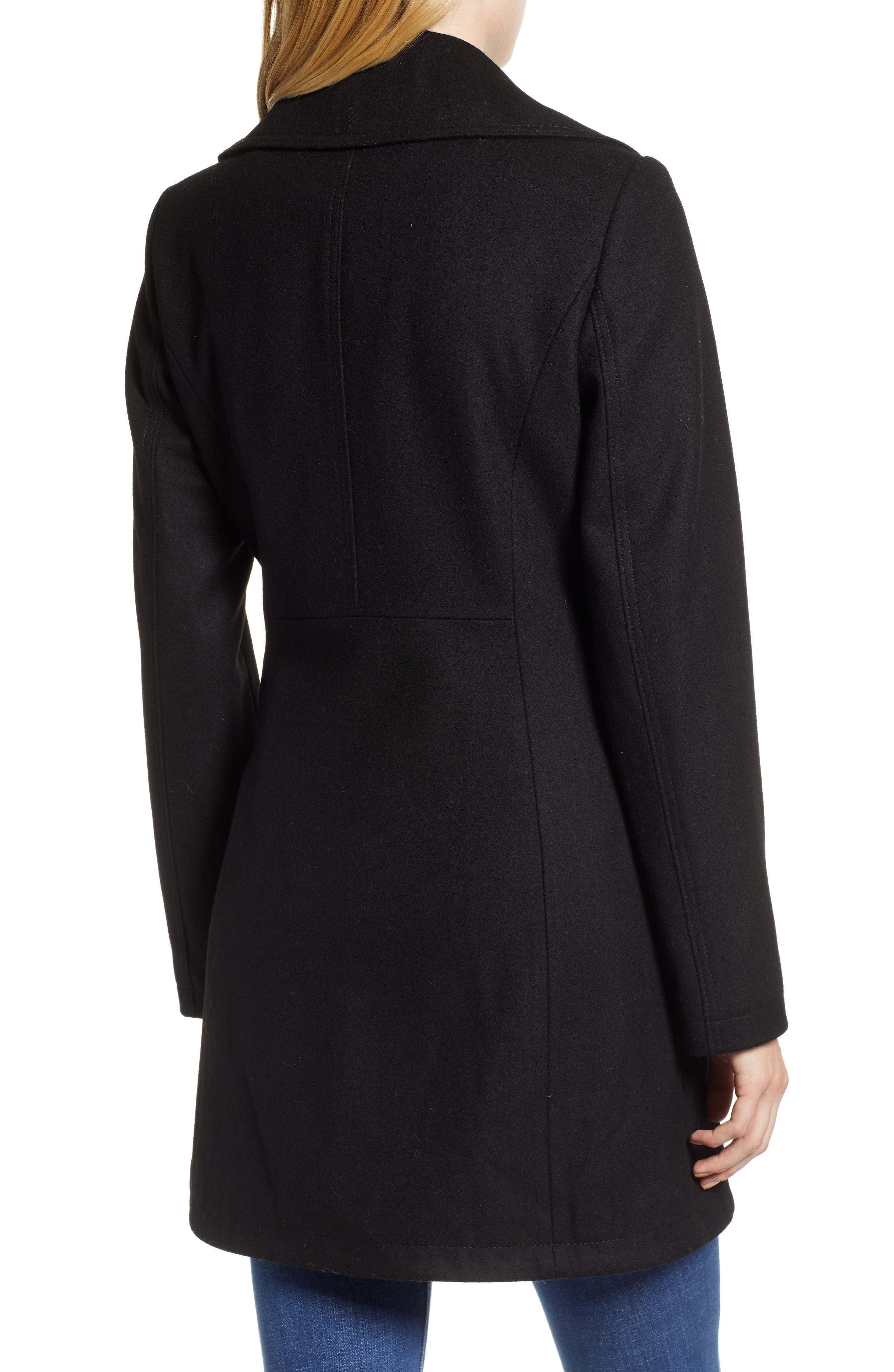 Asymmetrical Zip Wool Blend Coat,                             Alternate thumbnail 2, color,                             001