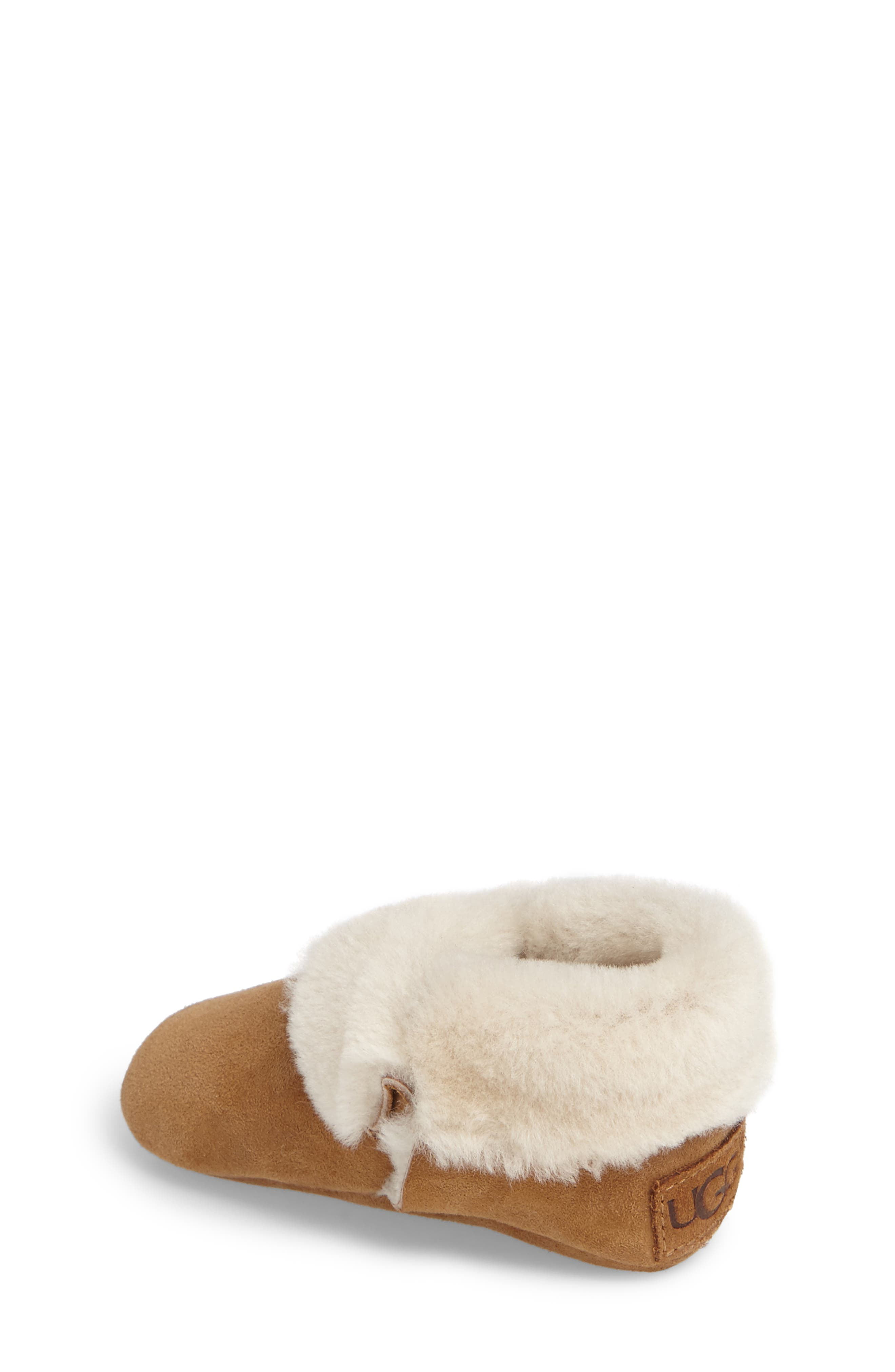 Solvi Genuine Shearling Low Cuffed Bootie,                             Alternate thumbnail 2, color,                             CHESTNUT