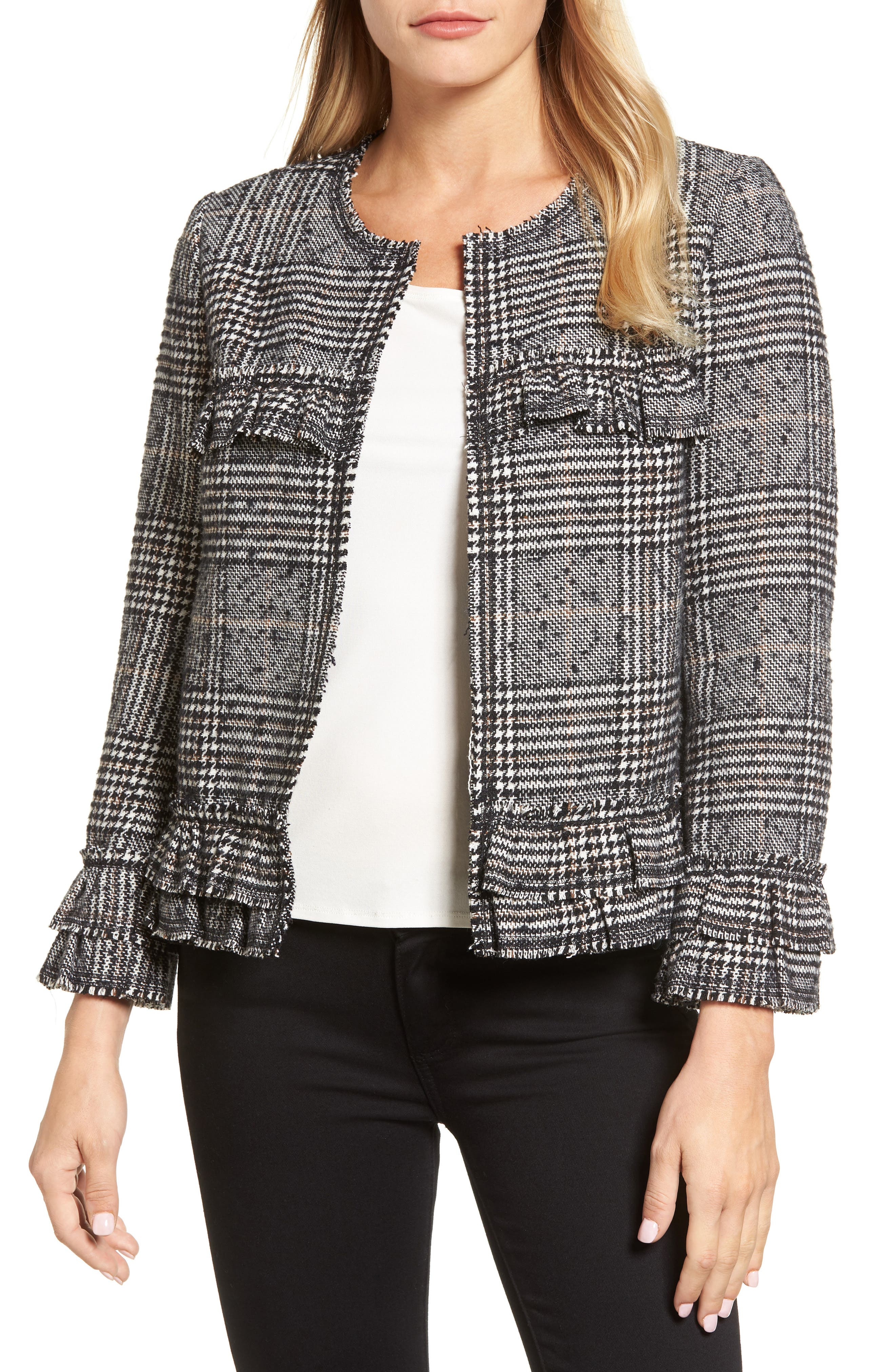 Ruffle Plaid Jacket,                         Main,                         color, 007