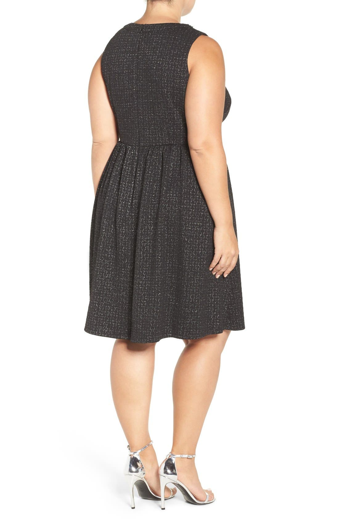 Embellished Stretch Fit & Flare Dress,                             Alternate thumbnail 2, color,                             004