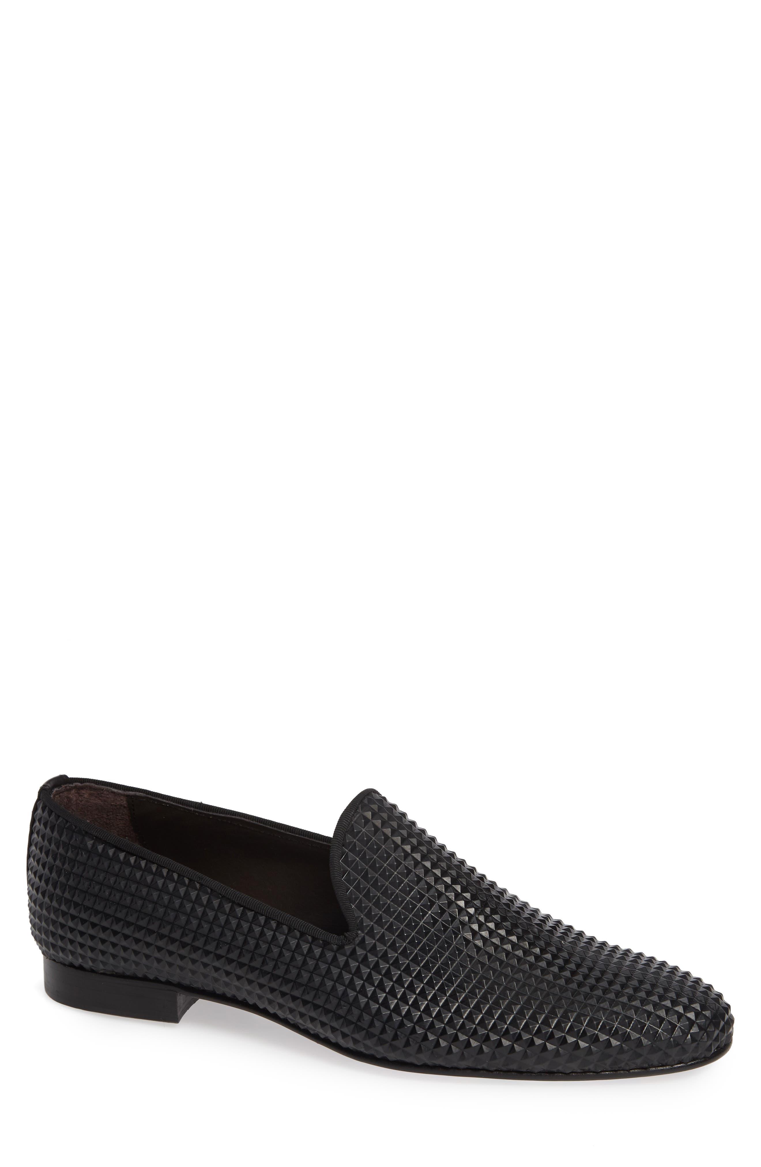 Milan Studded Venetian Loafer,                             Main thumbnail 1, color,                             BLACK