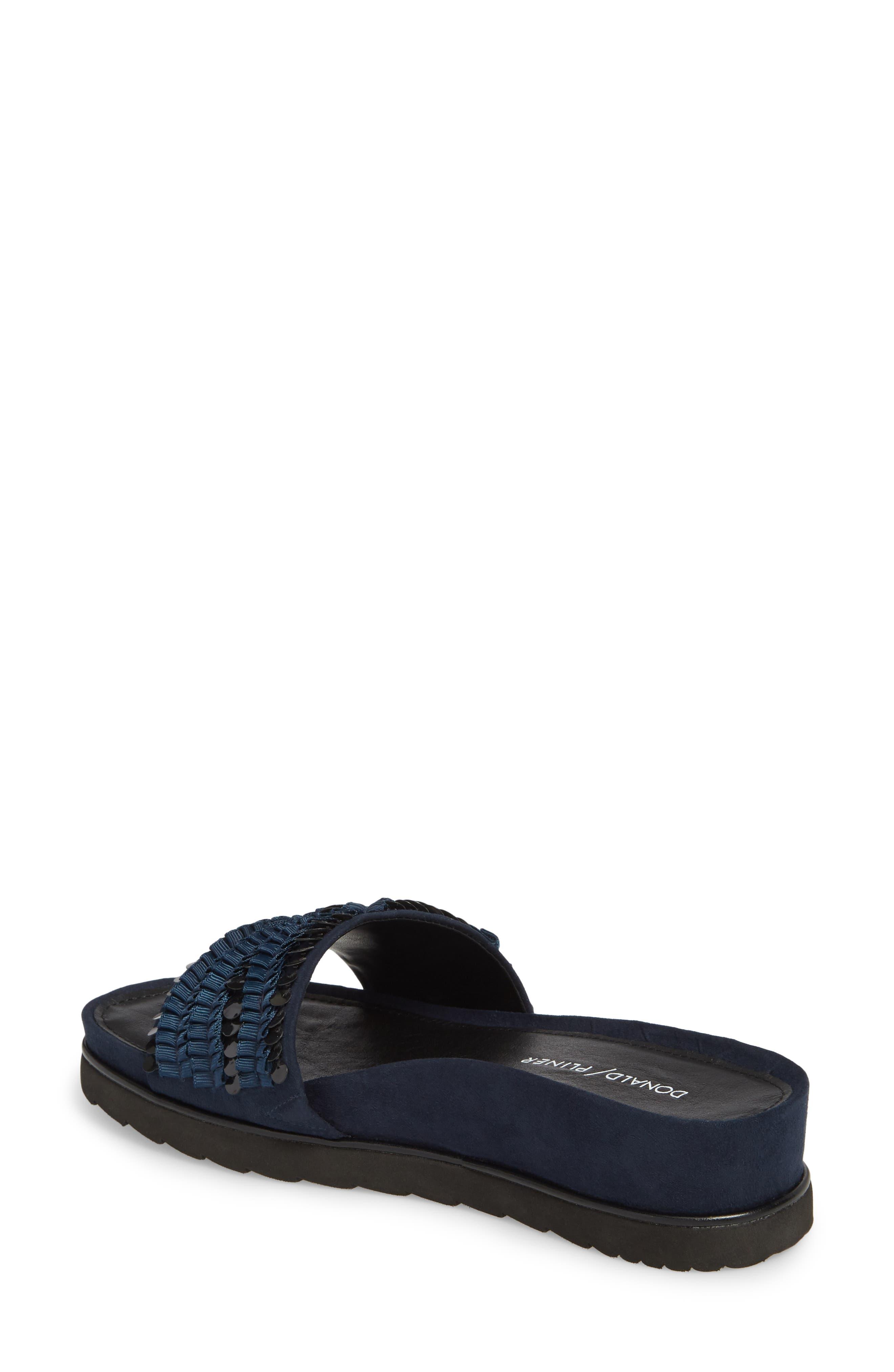 Cava Slide Sandal,                             Alternate thumbnail 2, color,                             NAVY SUEDE