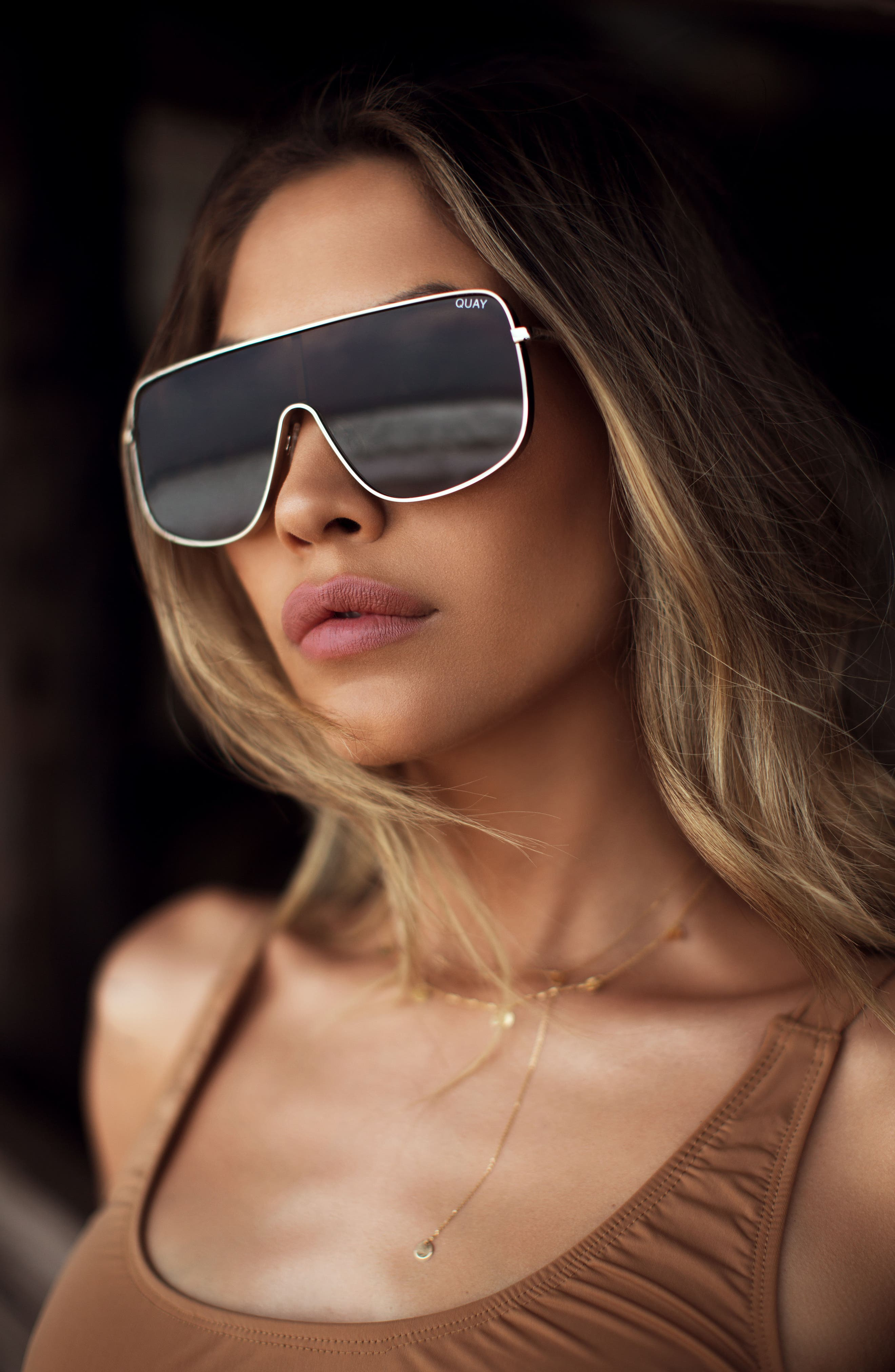 Unbothered 68mm Shield Sunglasses,                             Alternate thumbnail 7, color,                             001