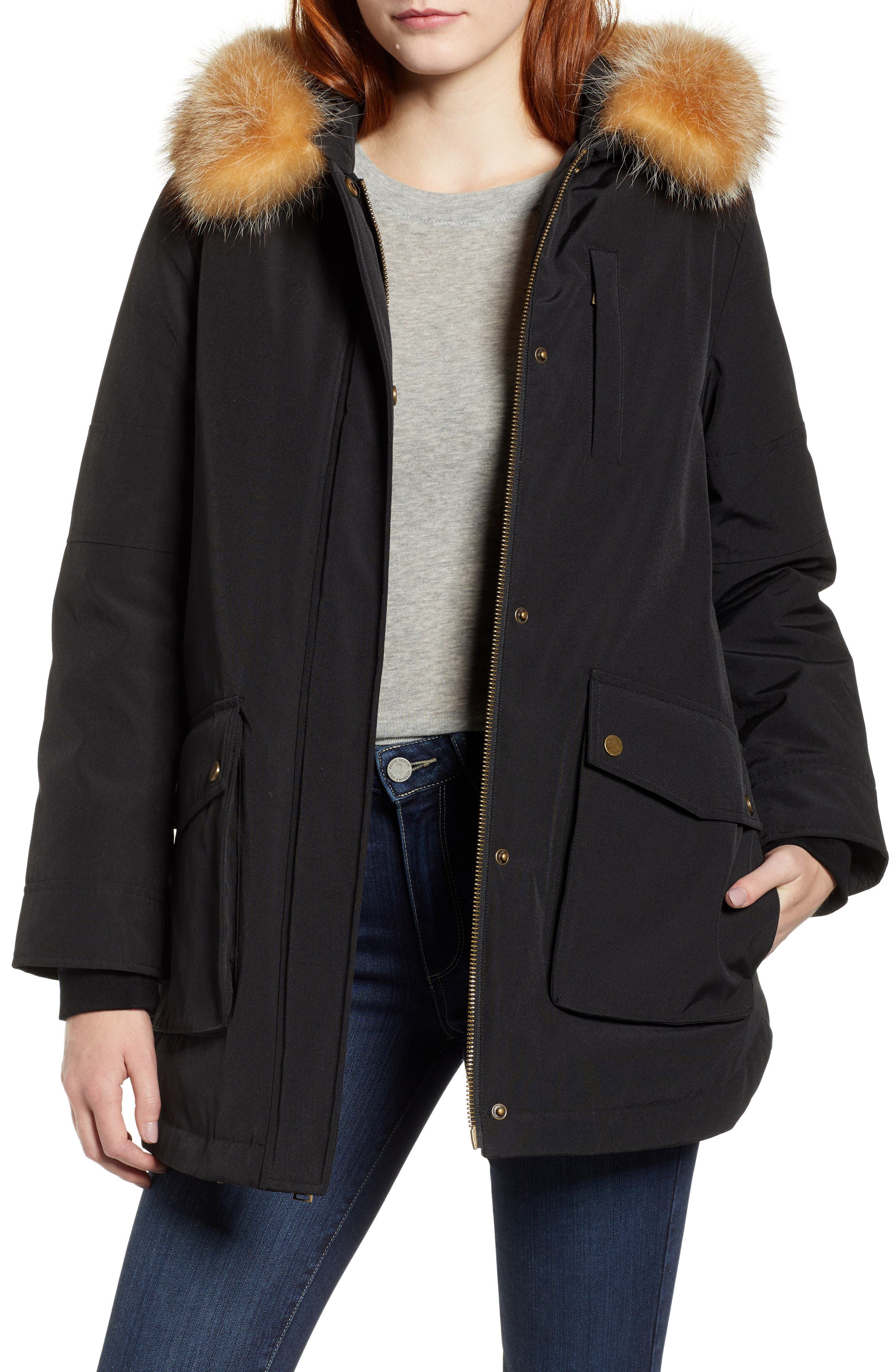 Pendleton Dawson Genuine Fur Trim Down Coat, Black