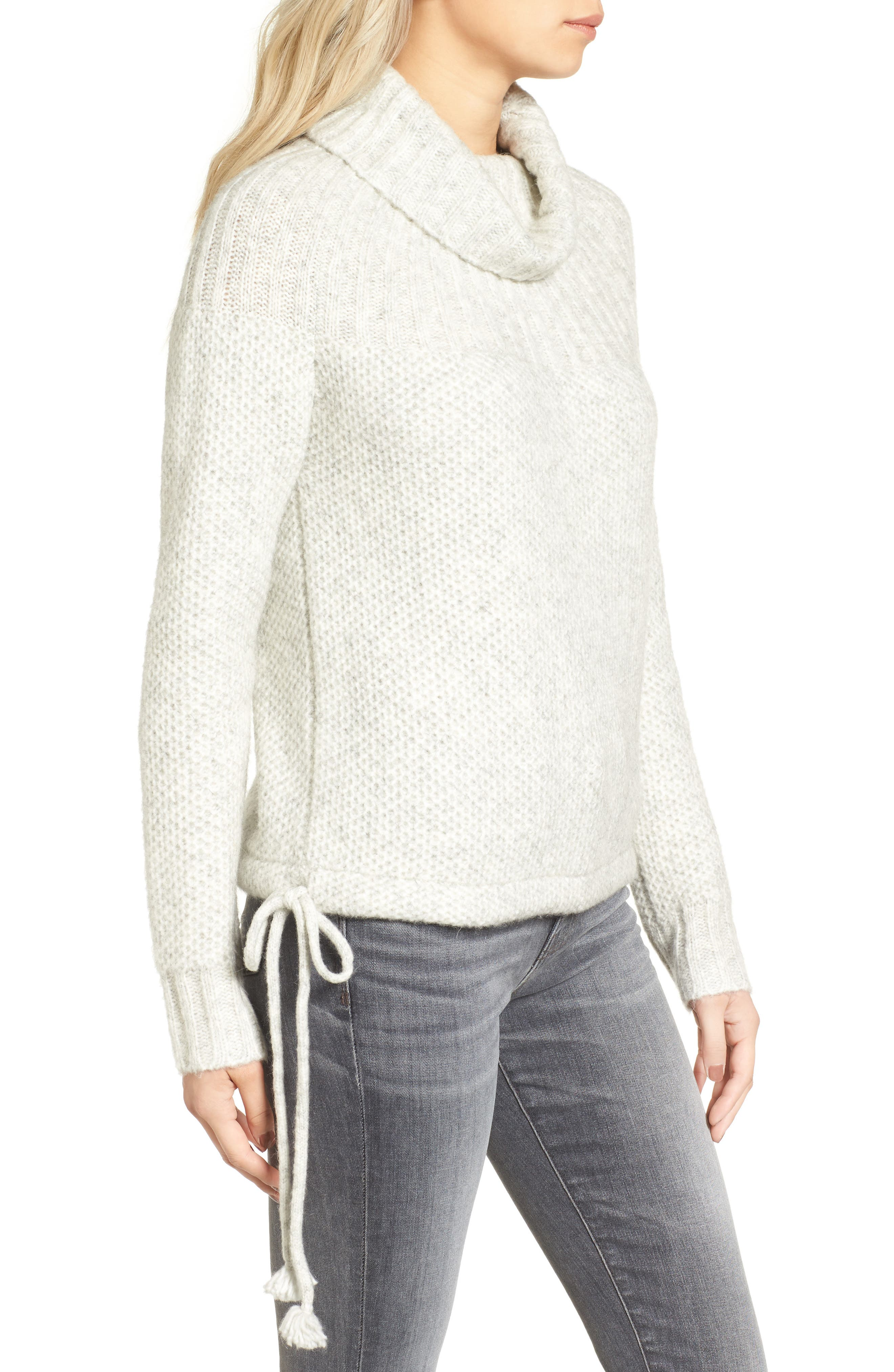 Drawcord Cowl Sweater,                             Alternate thumbnail 3, color,                             020