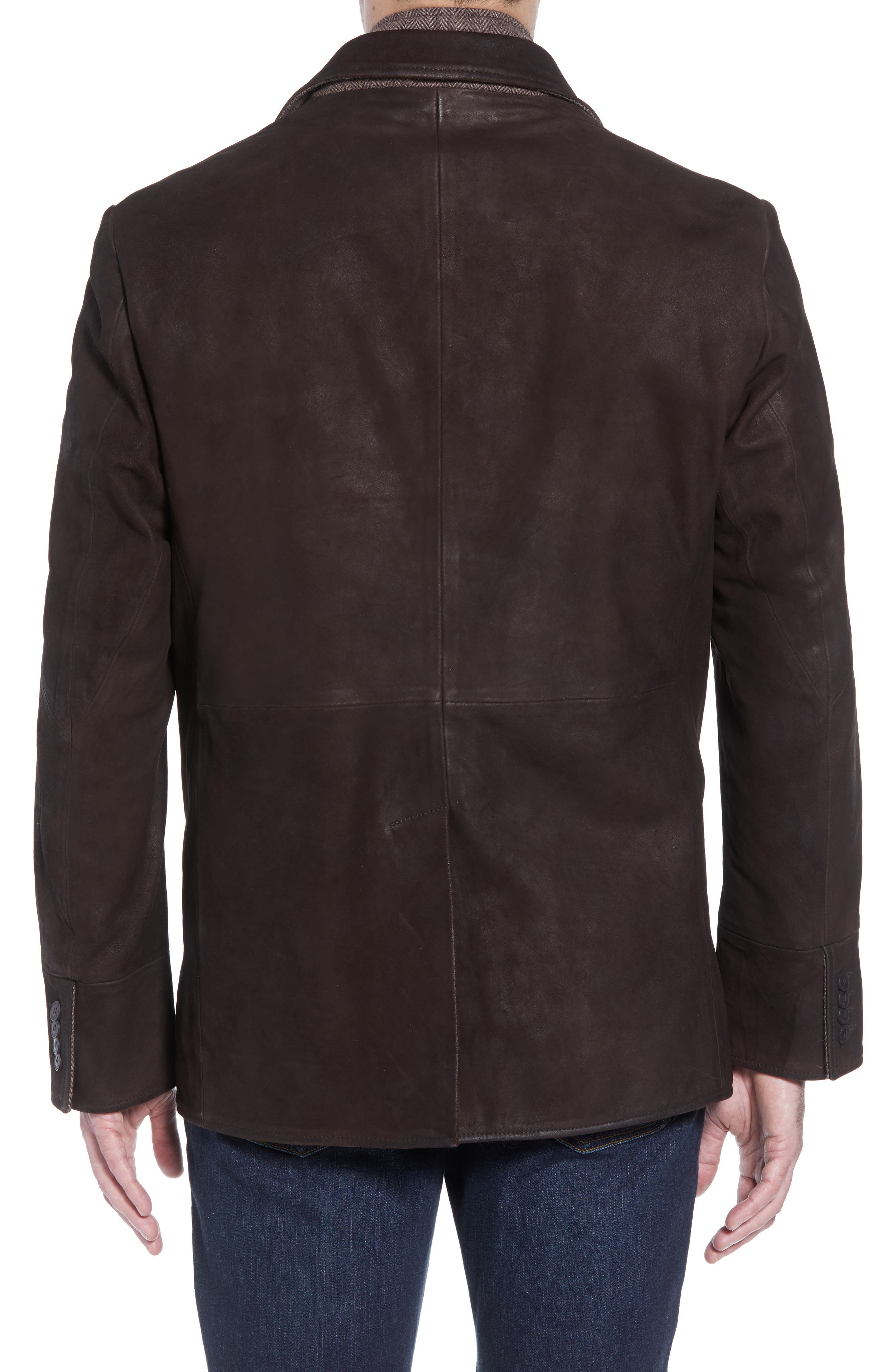 Distressed Leather Hybrid Coat,                             Alternate thumbnail 3, color,                             CHOCOLATE BROWN