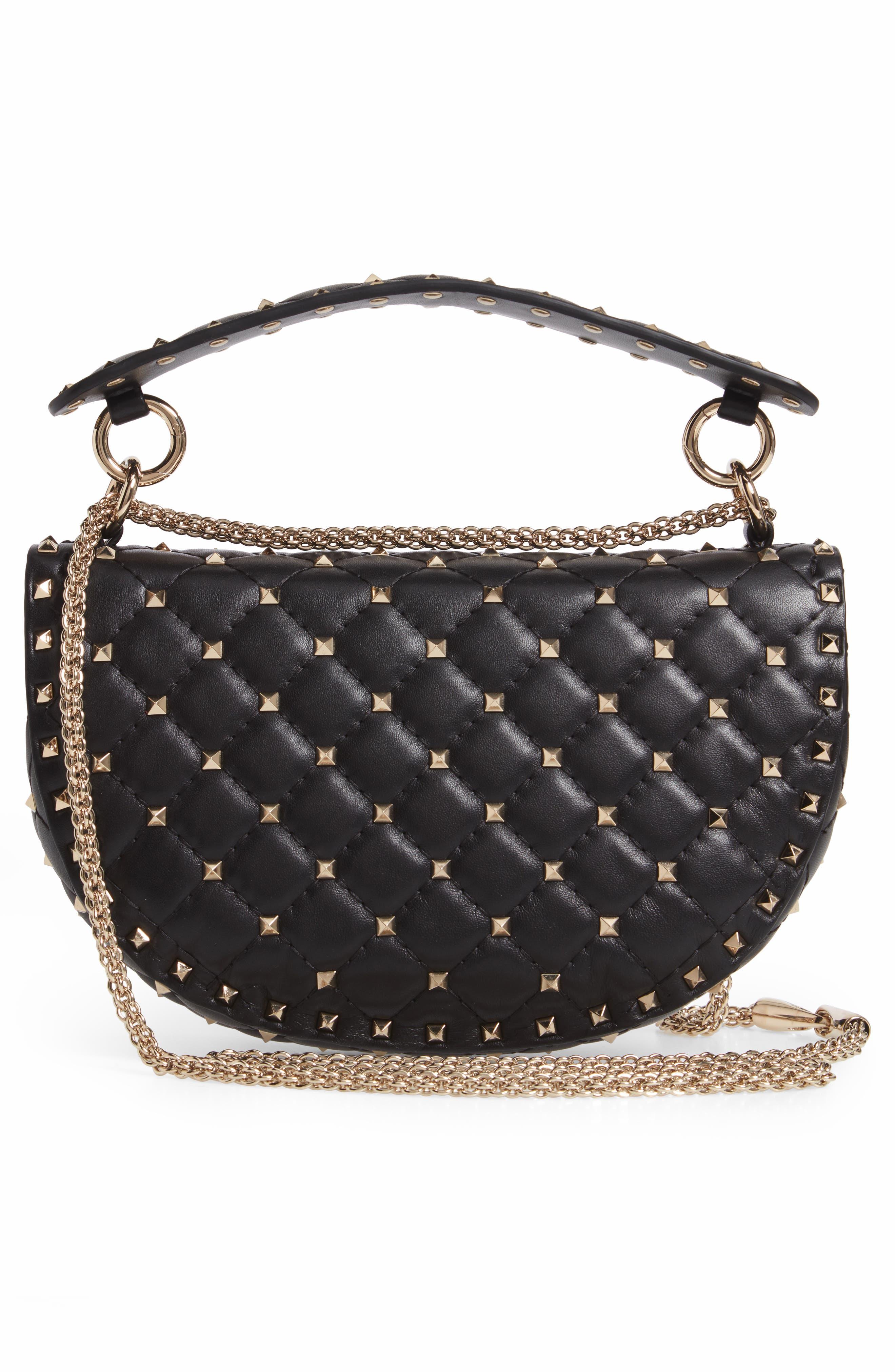 Rockstud Spike Leather Saddle Bag,                             Alternate thumbnail 3, color,                             NERO