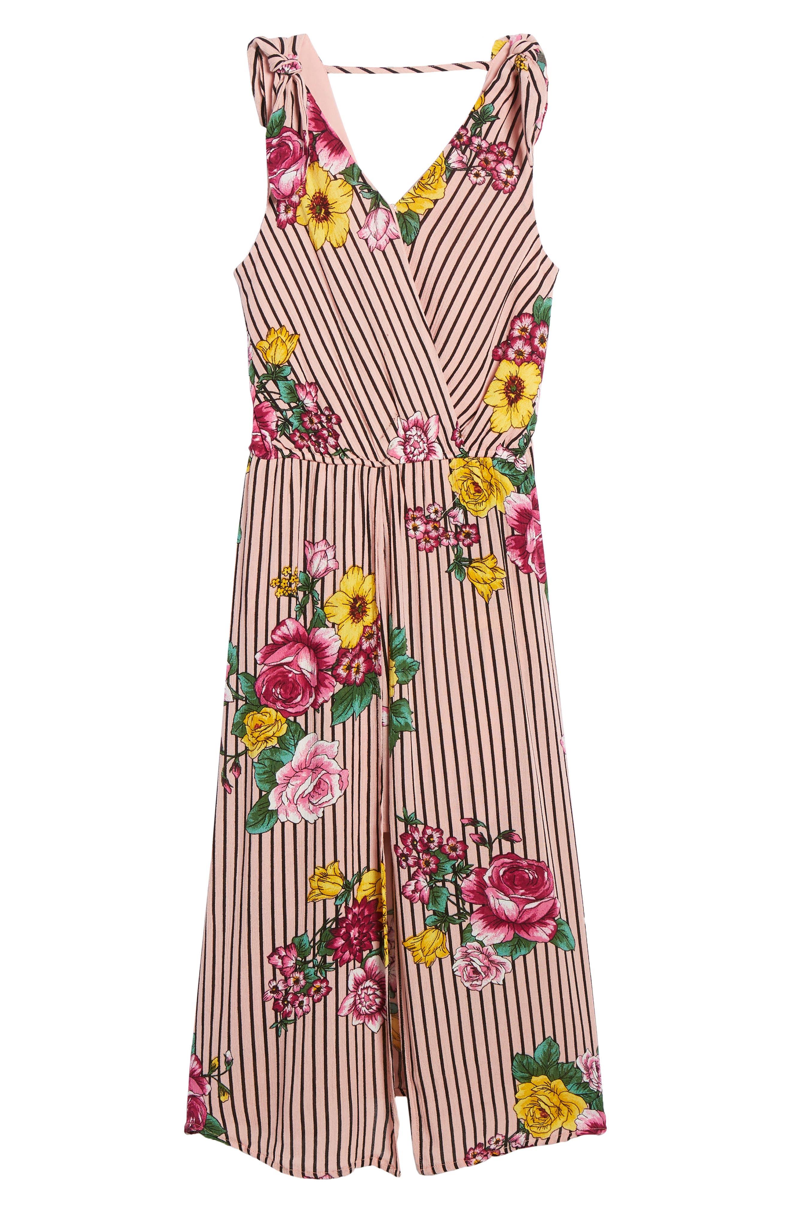 TRIXXI Stripe Floral Jumpsuit, Main, color, BLUSH