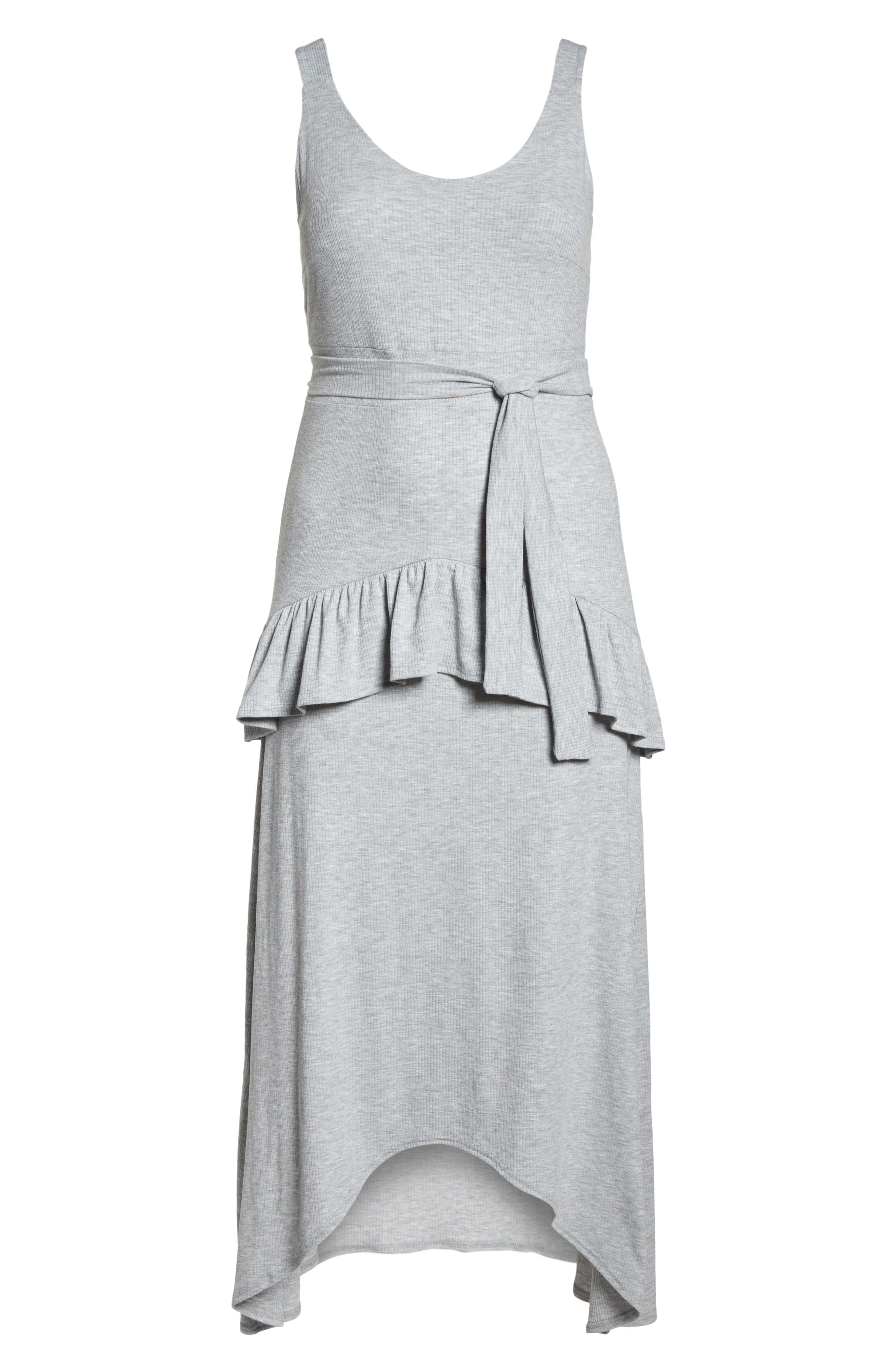 Tie Waist Ruffle Rib Jersey High/Low Dress,                             Alternate thumbnail 7, color,                             020