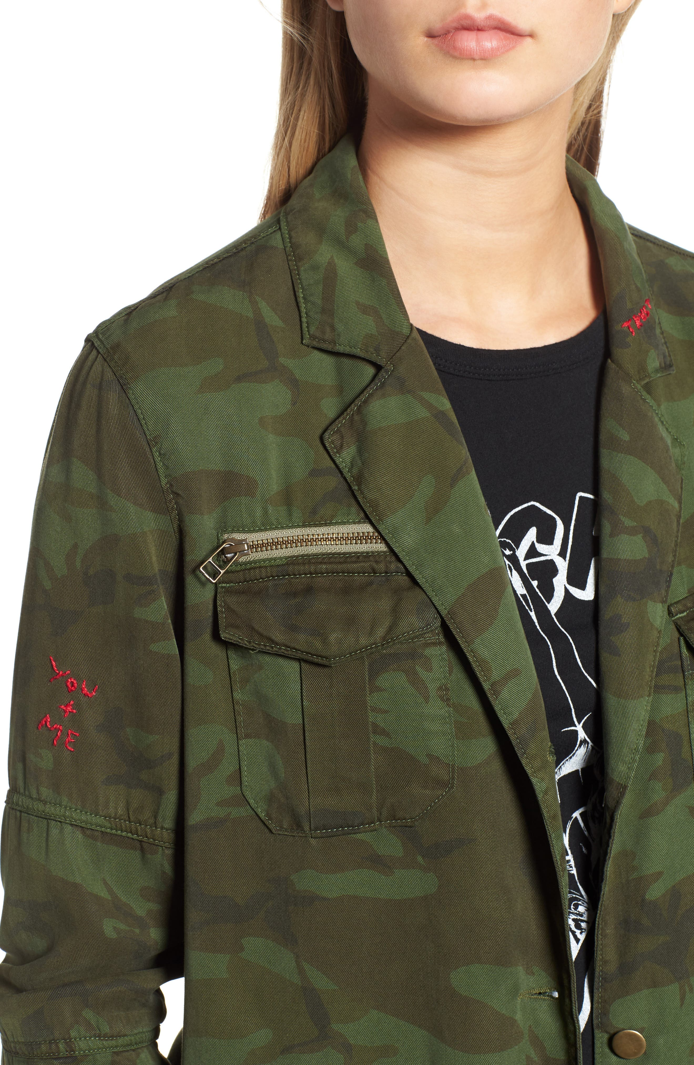 Contrast Cuff Camo Jacket,                             Alternate thumbnail 4, color,                             ARMY CAMO
