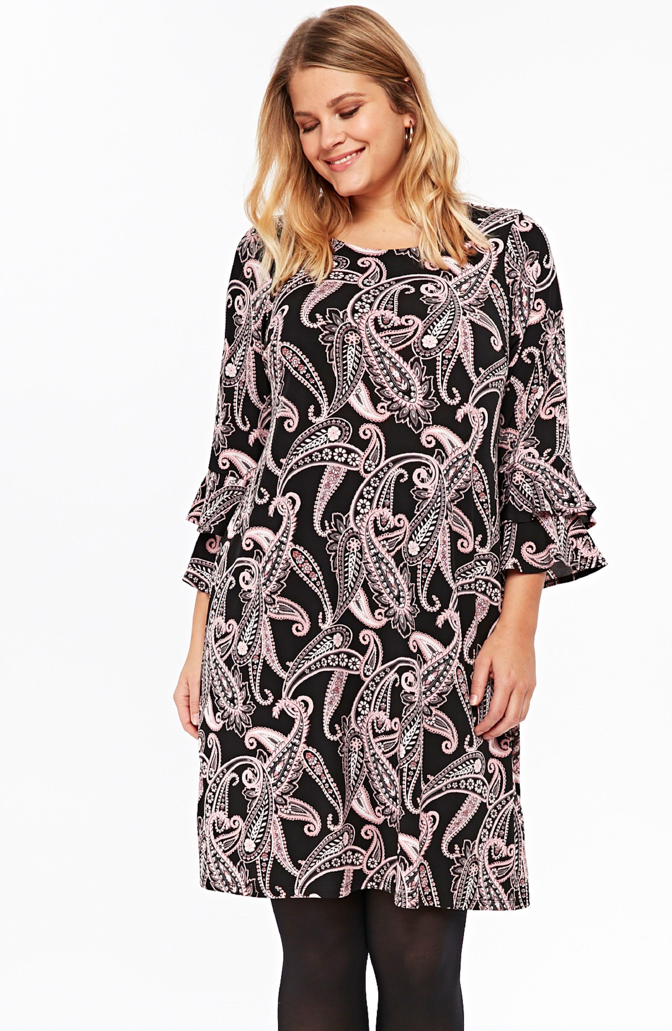Paisley Fluted Sleeve Dress,                             Alternate thumbnail 5, color,                             001