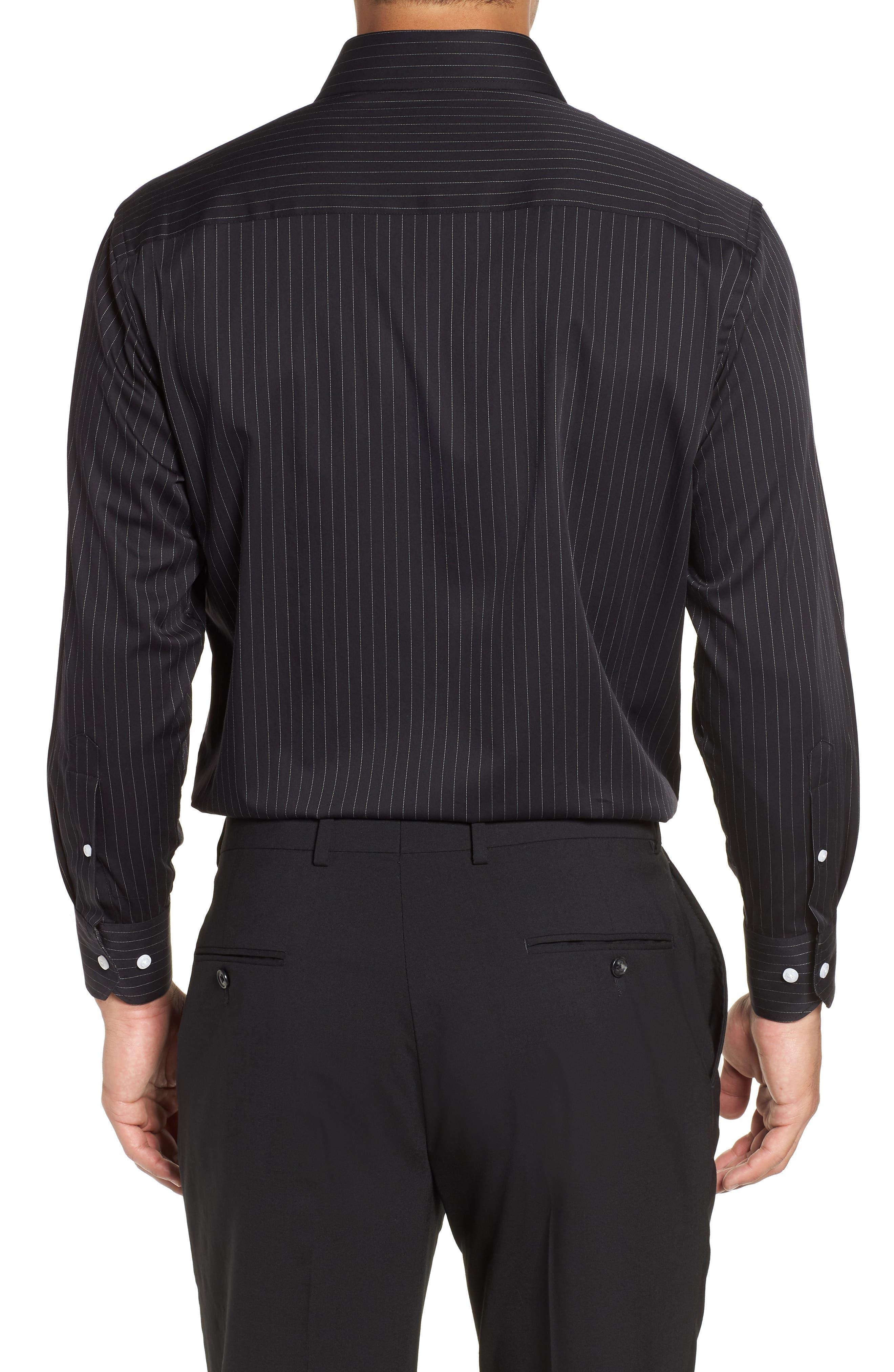 Regular Fit Stretch Stripe Dress Shirt,                             Alternate thumbnail 3, color,                             BLACK