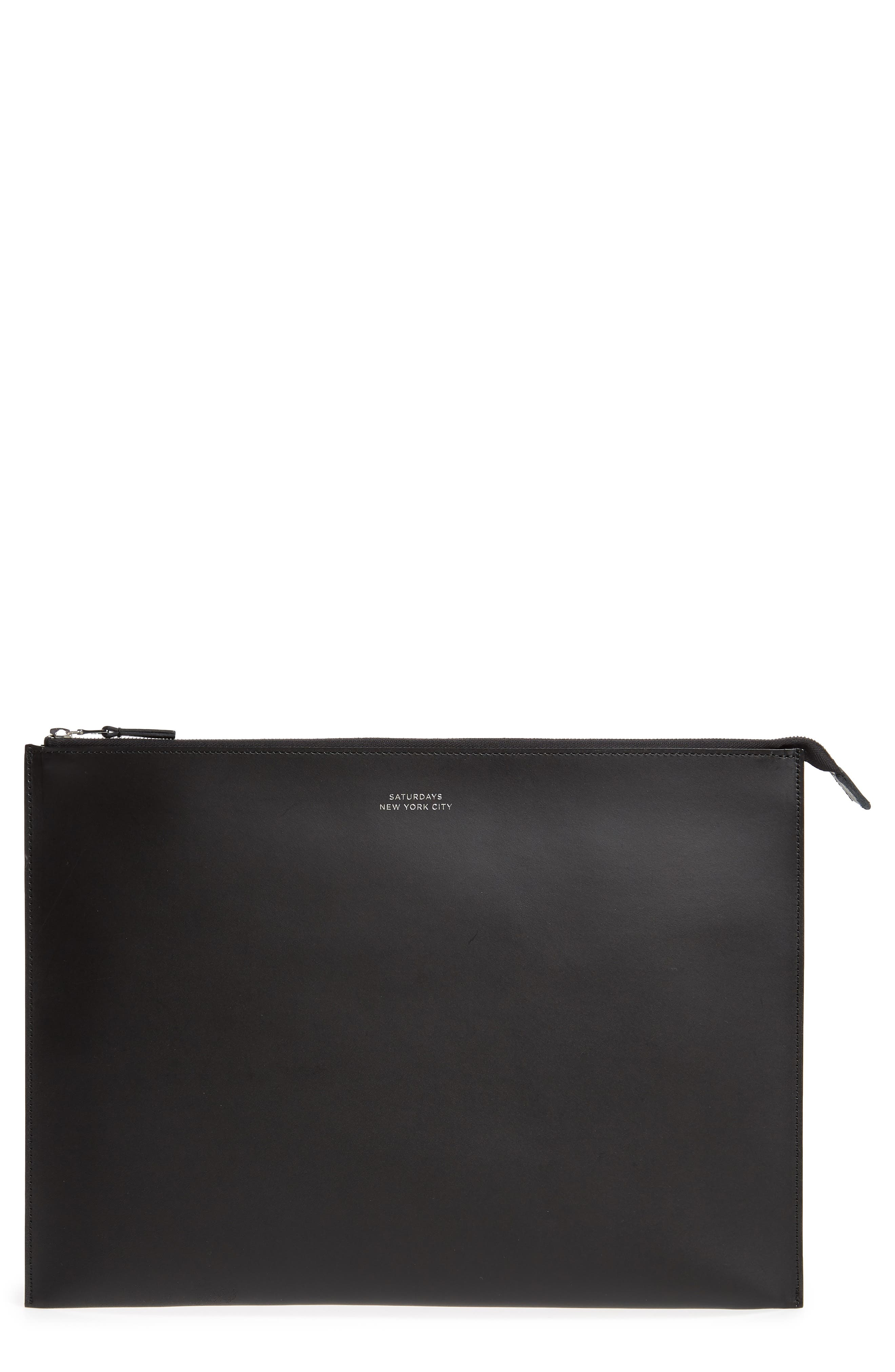 Kirk Large Leather Zip Pouch,                         Main,                         color, BLACK