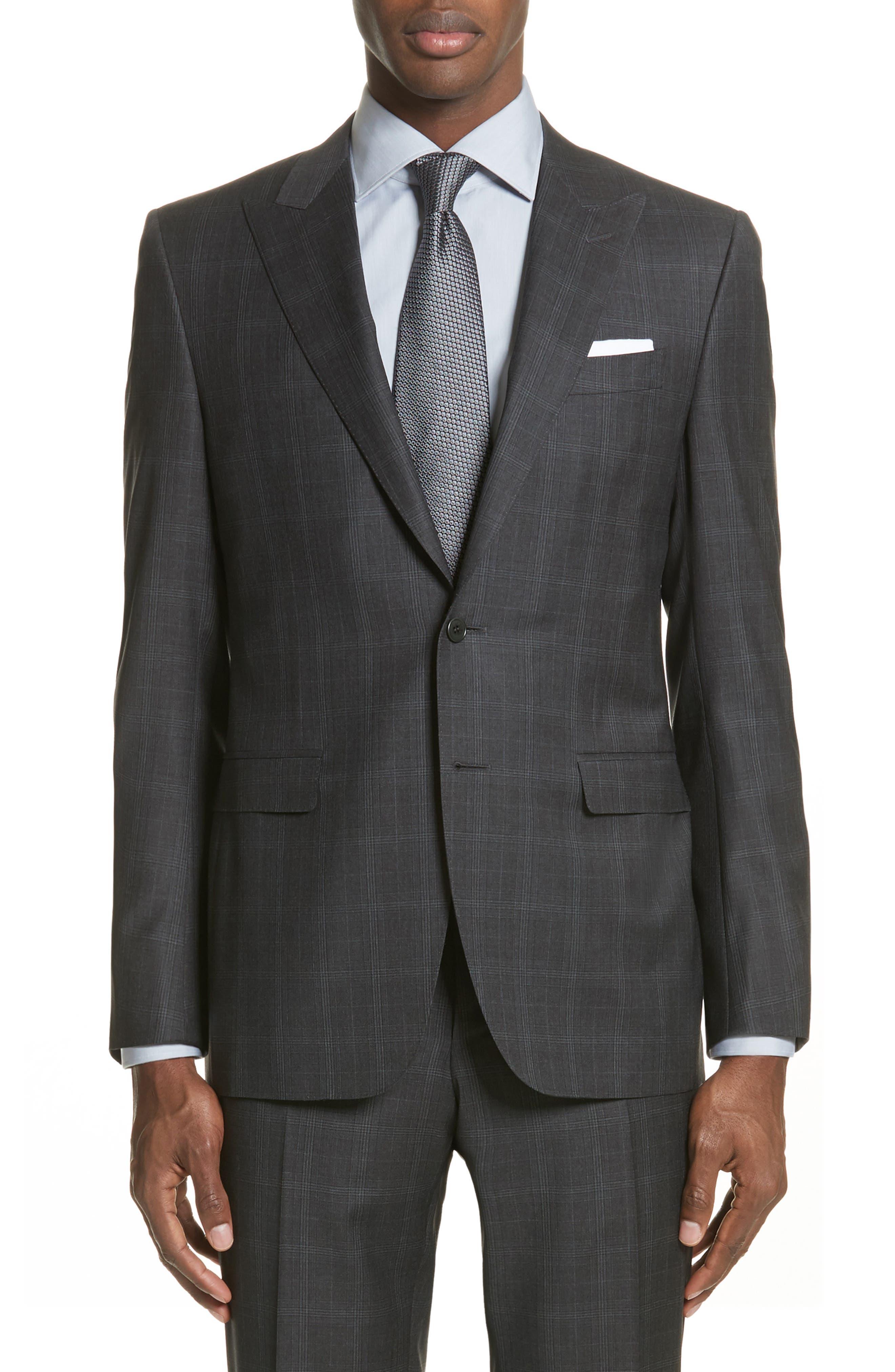 Classic Fit Plaid Wool Suit,                             Alternate thumbnail 5, color,                             023