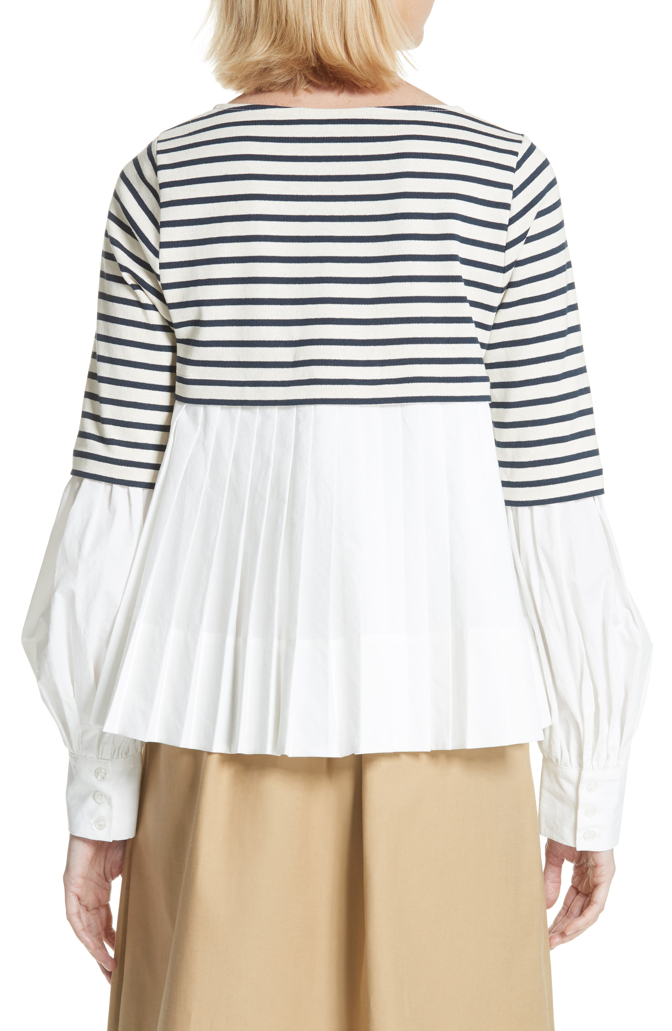 Levine Mixed Media Top,                             Alternate thumbnail 2, color,                             CREAM/ NAVY STRIPE