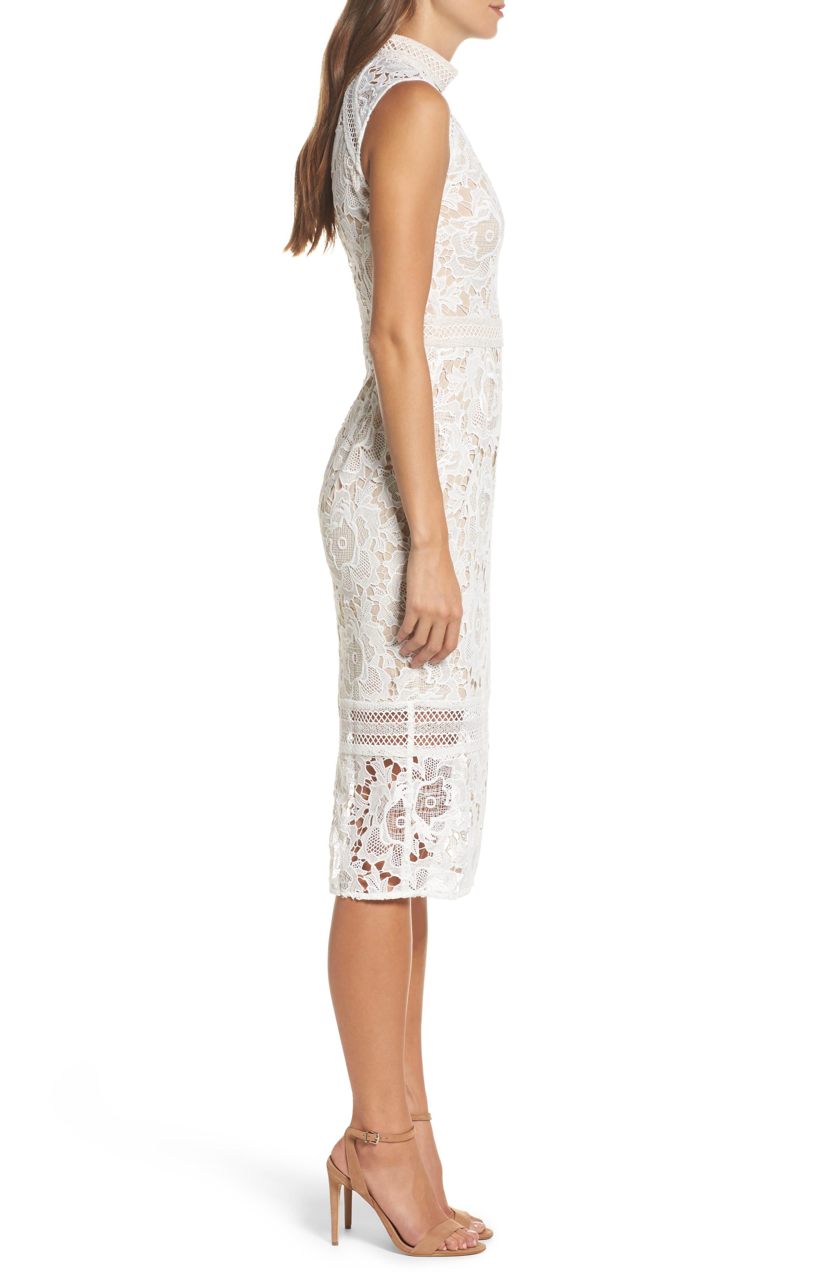 Alessandra Lace Choker Midi Dress,                             Alternate thumbnail 3, color,                             100
