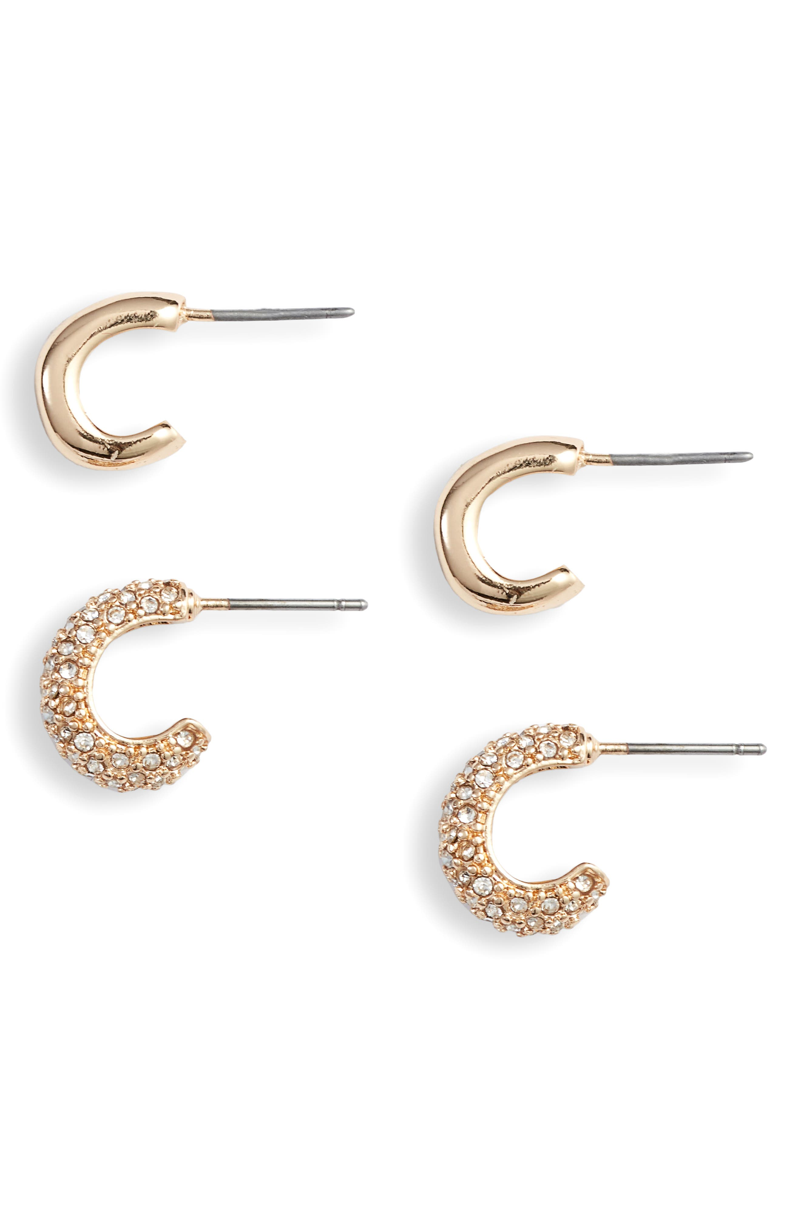 SOMETHING NAVY Set of 2 Huggie Hoop Earrings, Main, color, 710