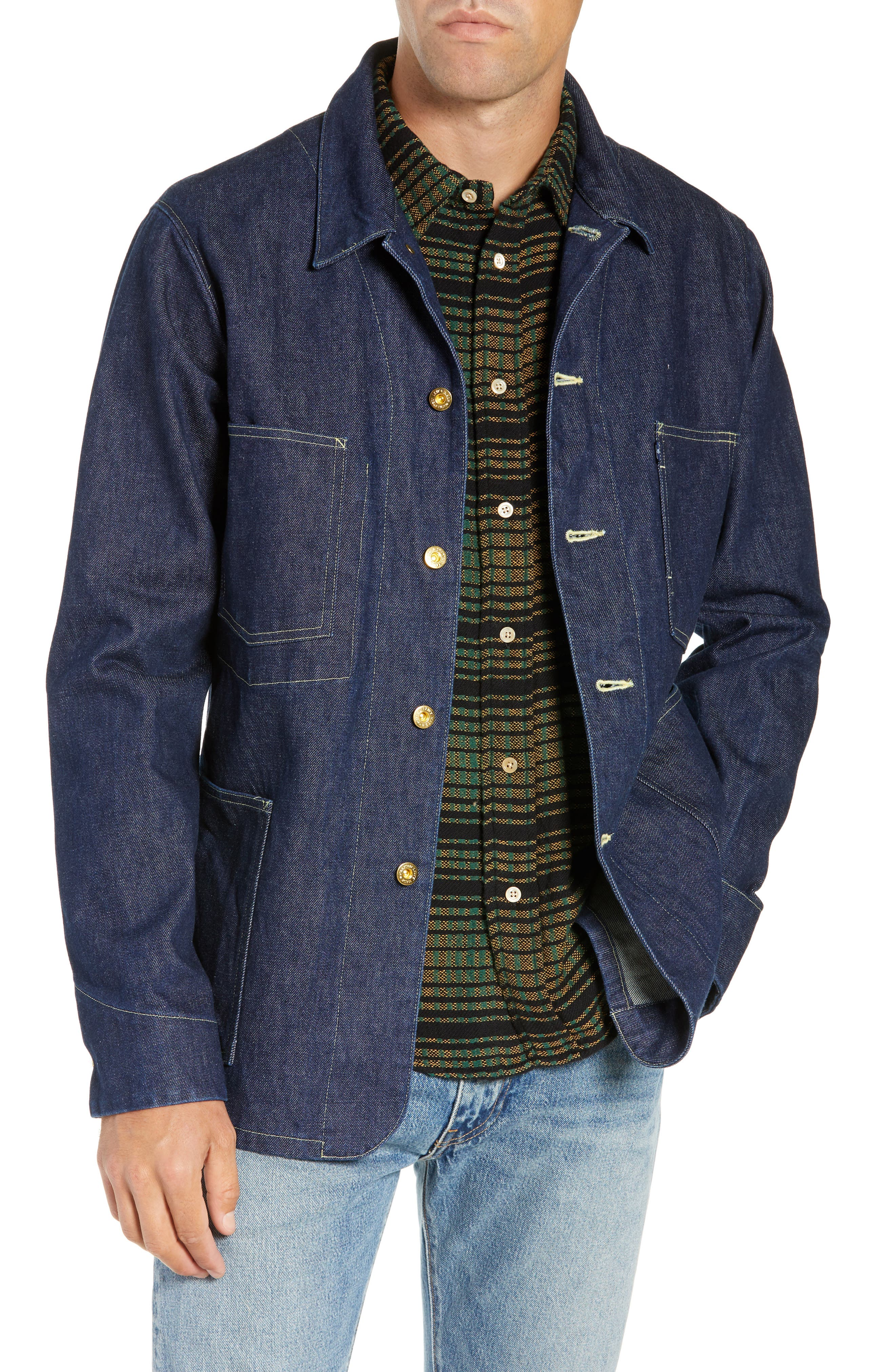 LEVI'S<SUP>®</SUP> MADE & CRAFTED<SUP>™</SUP>,                             Sat Denim Shirt Jacket,                             Main thumbnail 1, color,                             RINSE