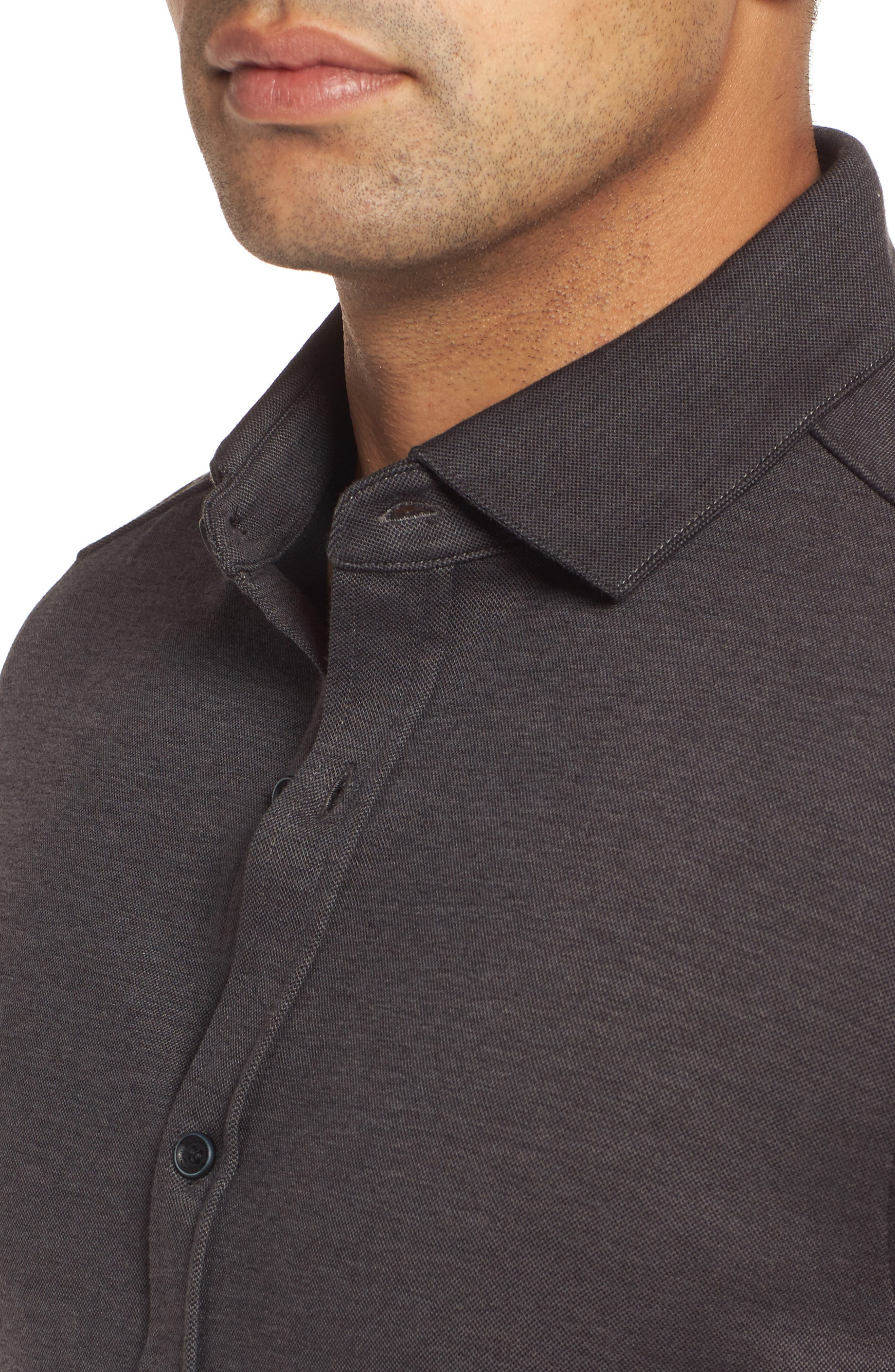 Classic Fit Heathered Knit Sport Shirt,                             Alternate thumbnail 4, color,                             020