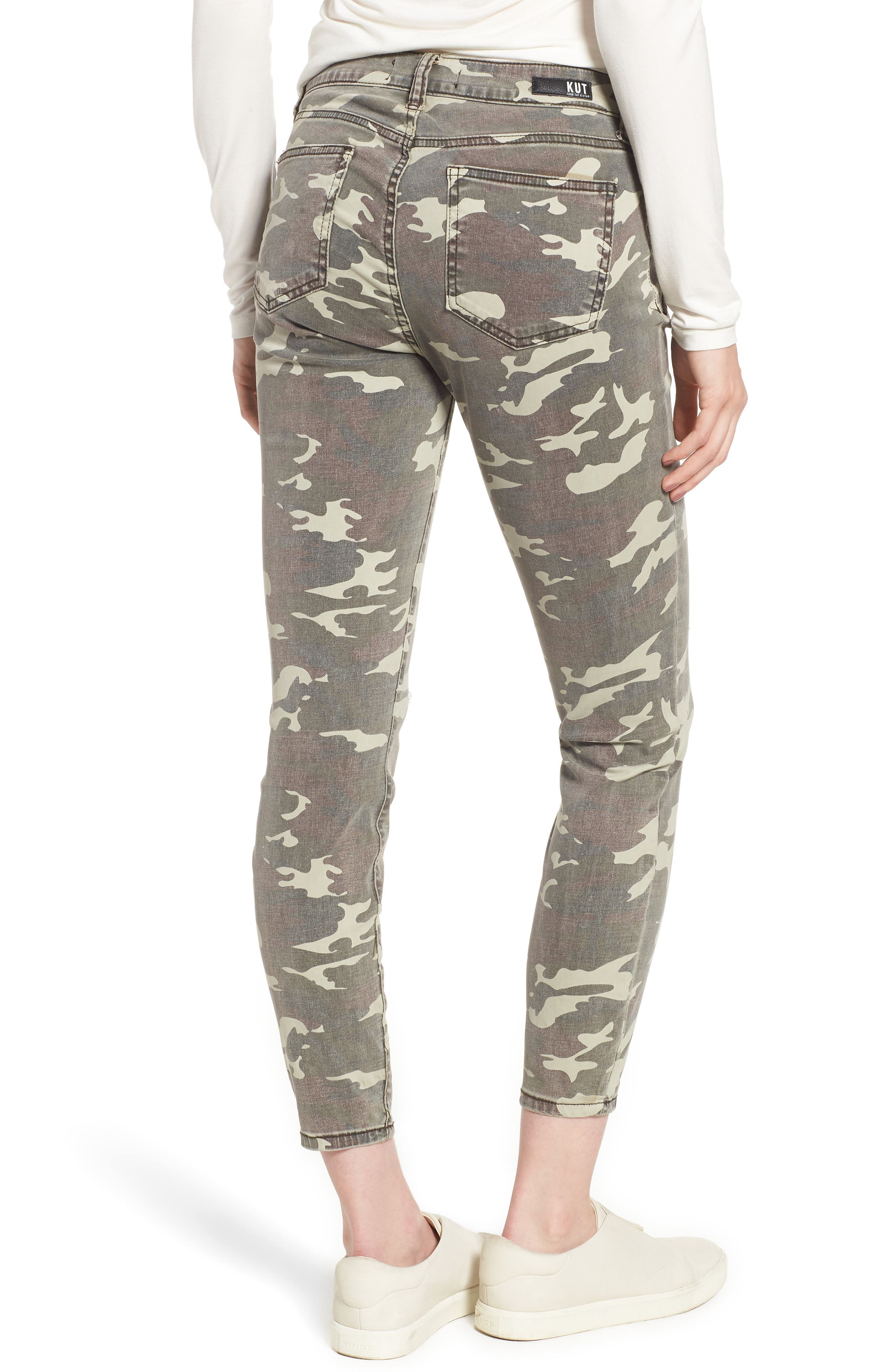 Connie Ankle Skinny Camo Jeans,                             Alternate thumbnail 2, color,                             OLIVE
