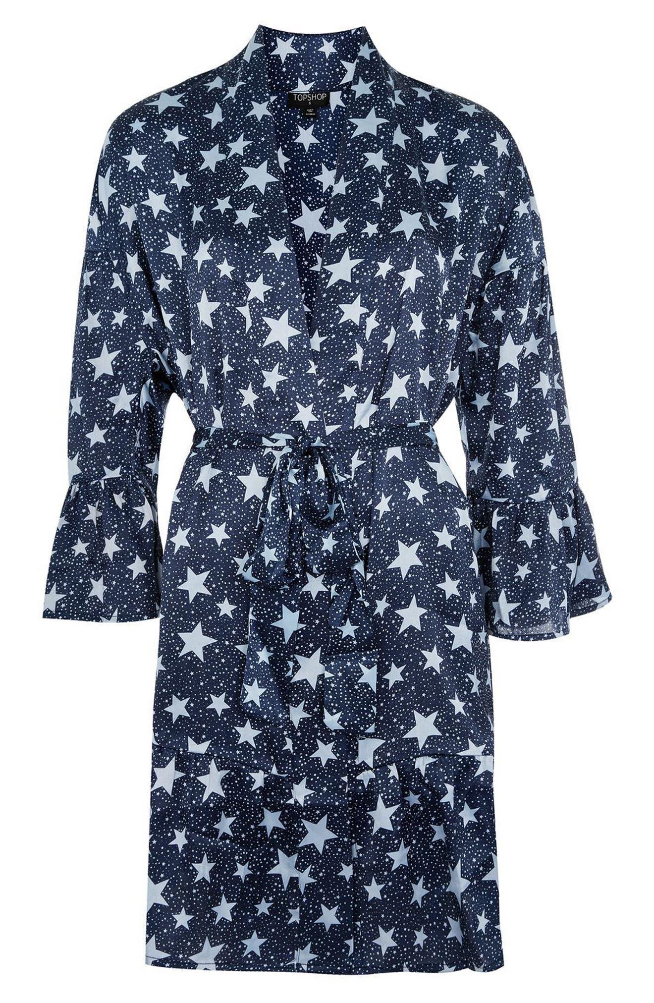 Star Satin Short Robe,                             Alternate thumbnail 3, color,                             410