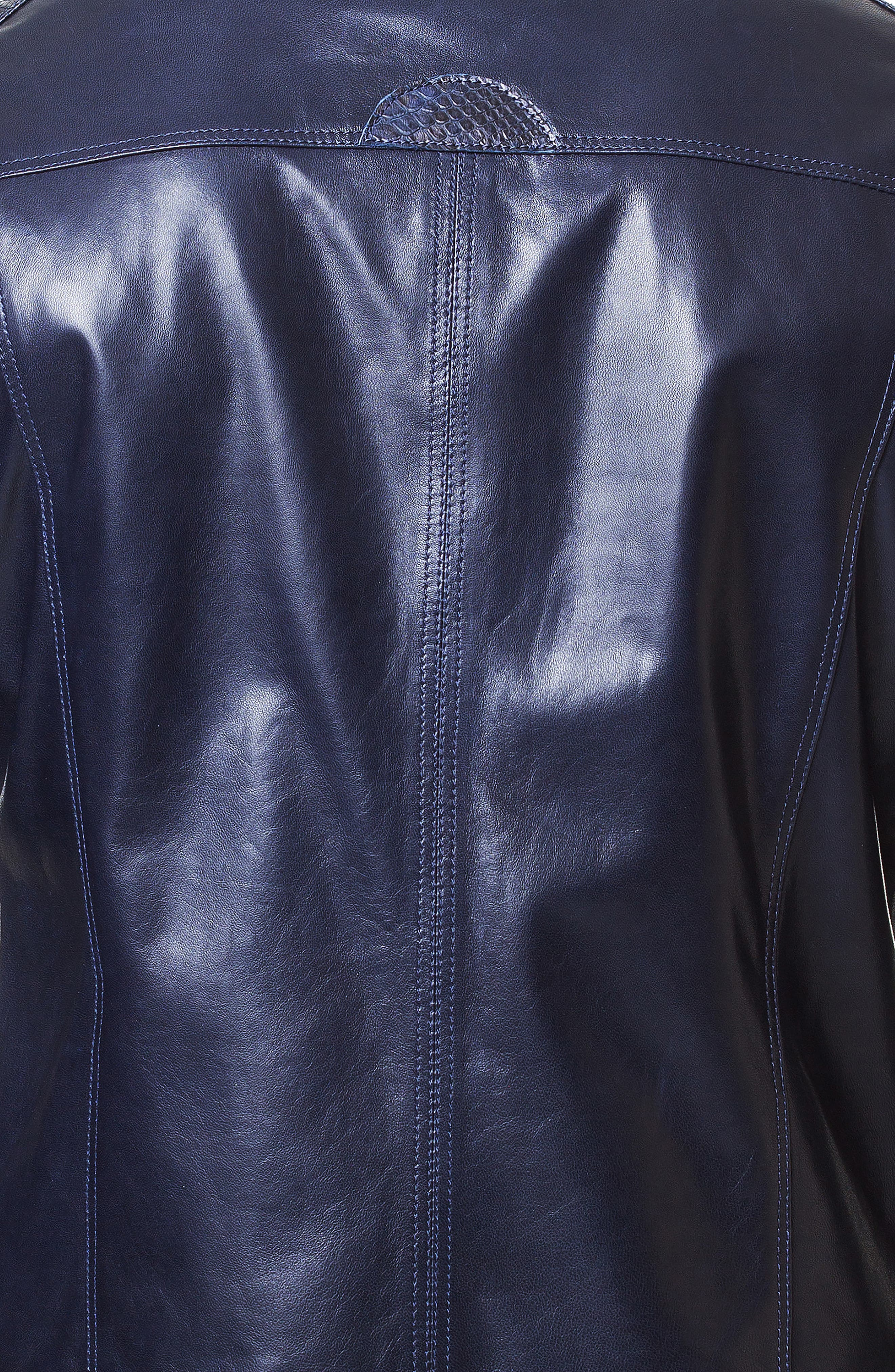 Mamba Shaped Fit Leather Jacket,                             Alternate thumbnail 3, color,                             BLUE