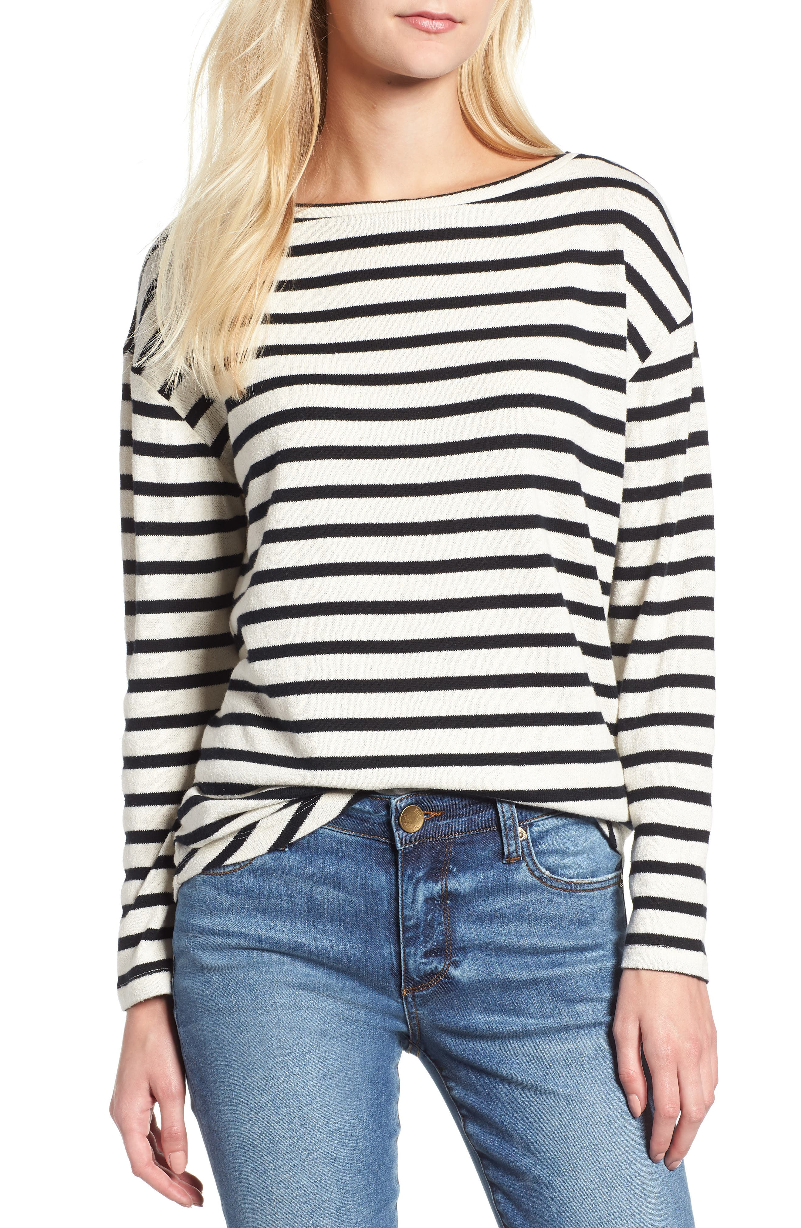 Stripe Shirttail Top,                             Main thumbnail 1, color,                             001