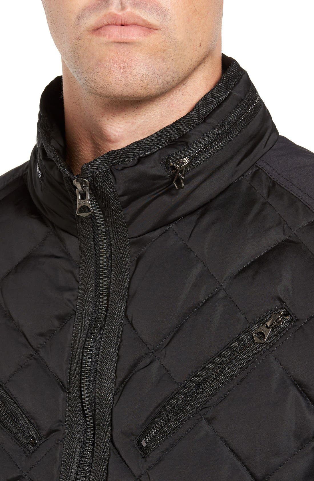 Café Racer Quilted Down Hooded Jacket,                             Alternate thumbnail 4, color,                             001