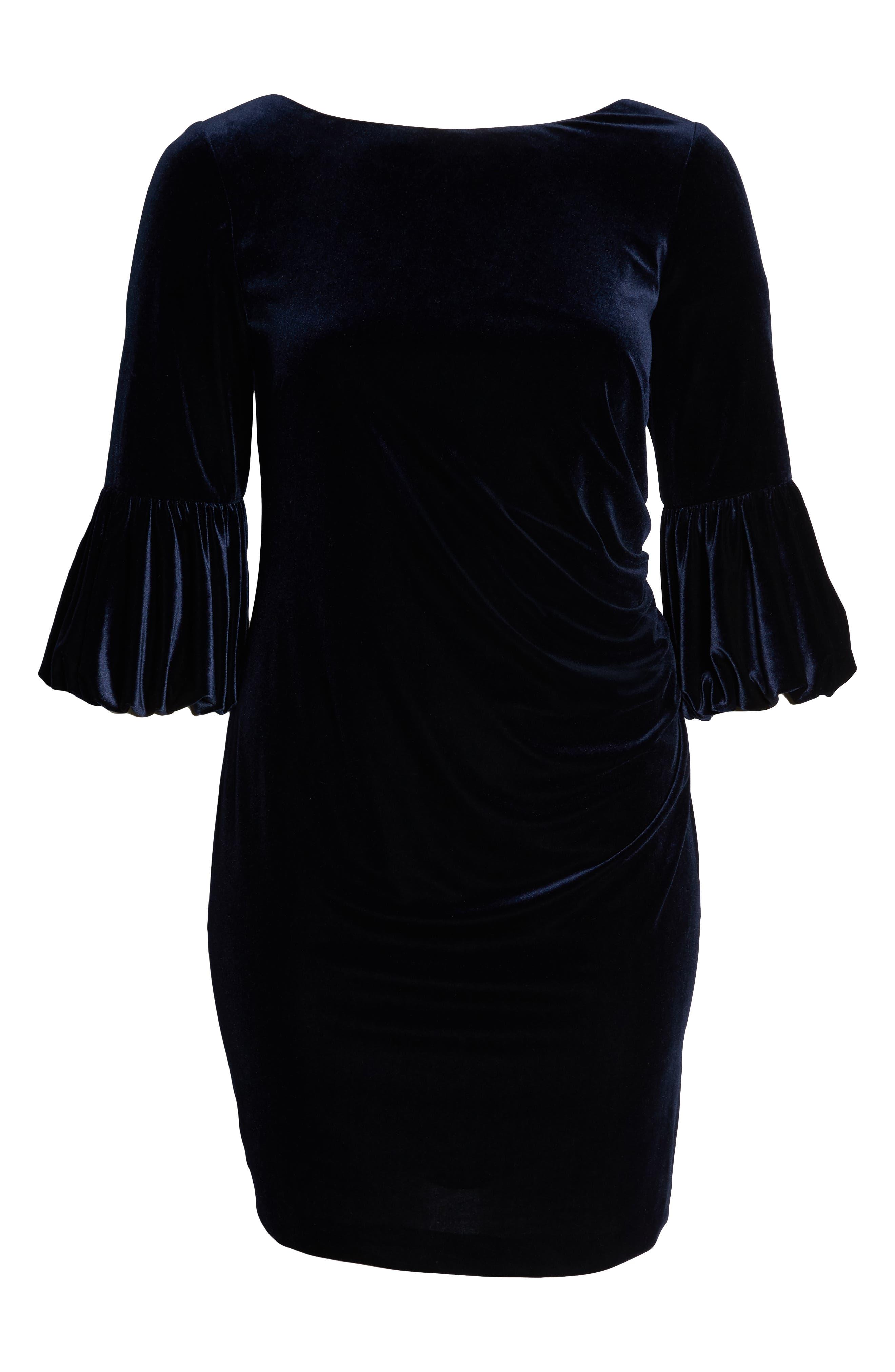 Bubble Sleeve Velvet Sheath Dress,                             Alternate thumbnail 7, color,                             NAVY