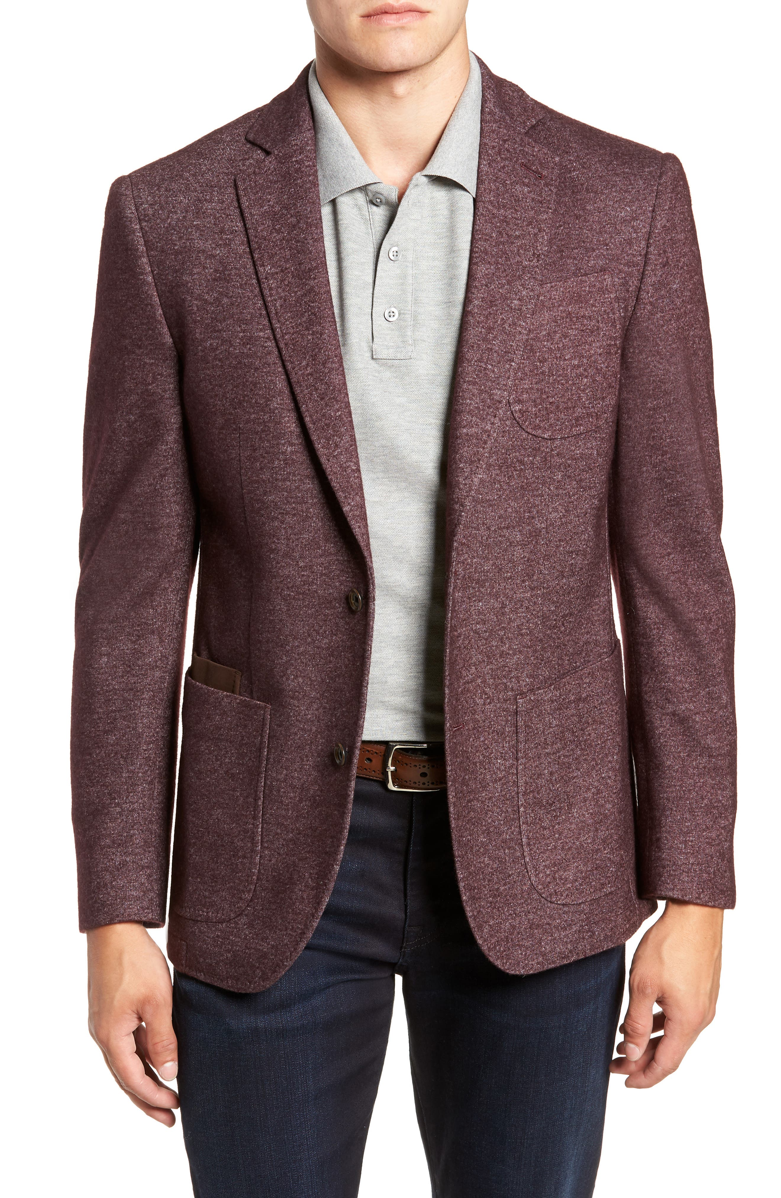 Regular Fit Knit Wool Blend Sport Coat,                             Main thumbnail 1, color,                             PORT