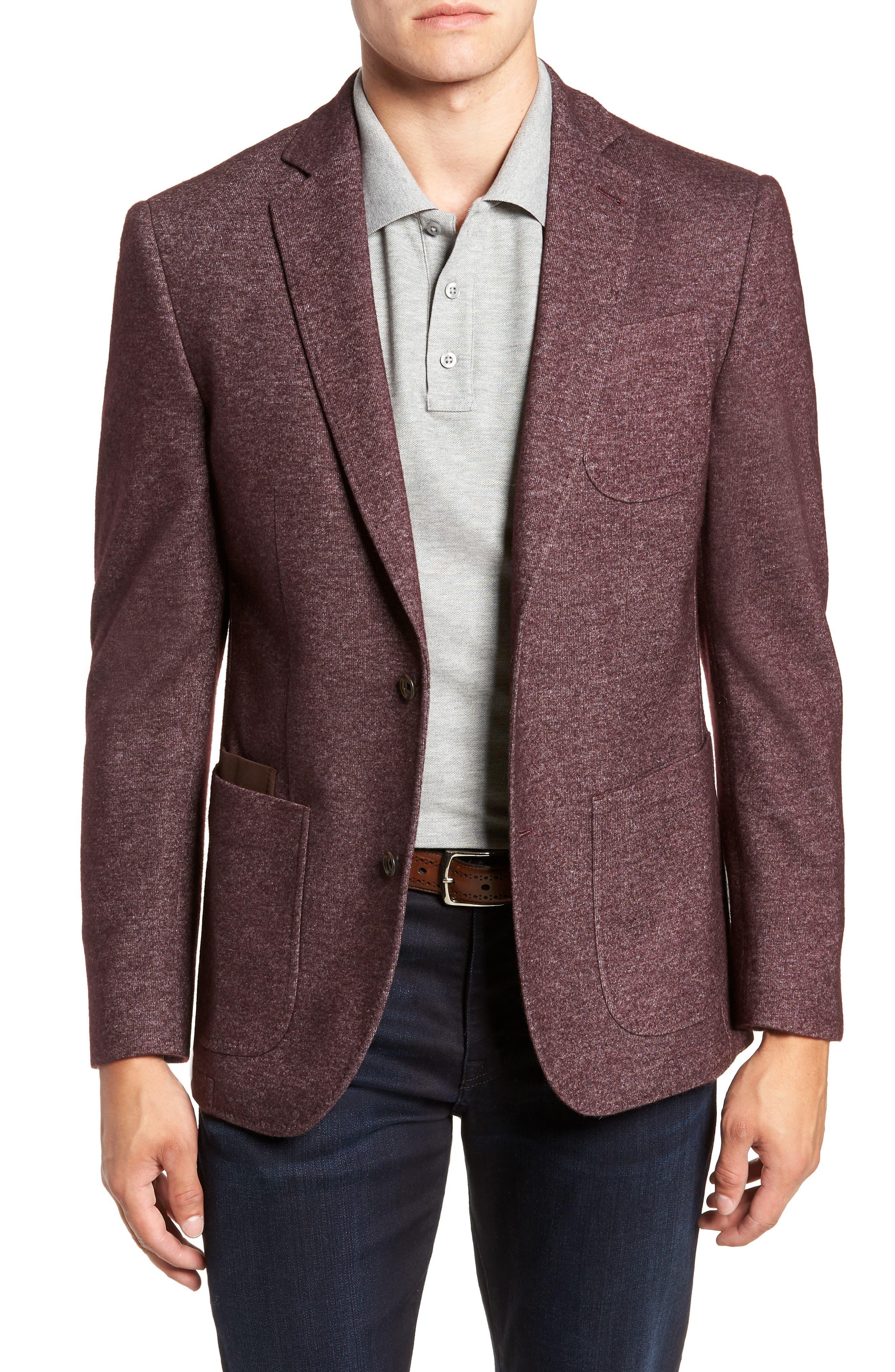 Regular Fit Knit Wool Blend Sport Coat,                         Main,                         color, PORT