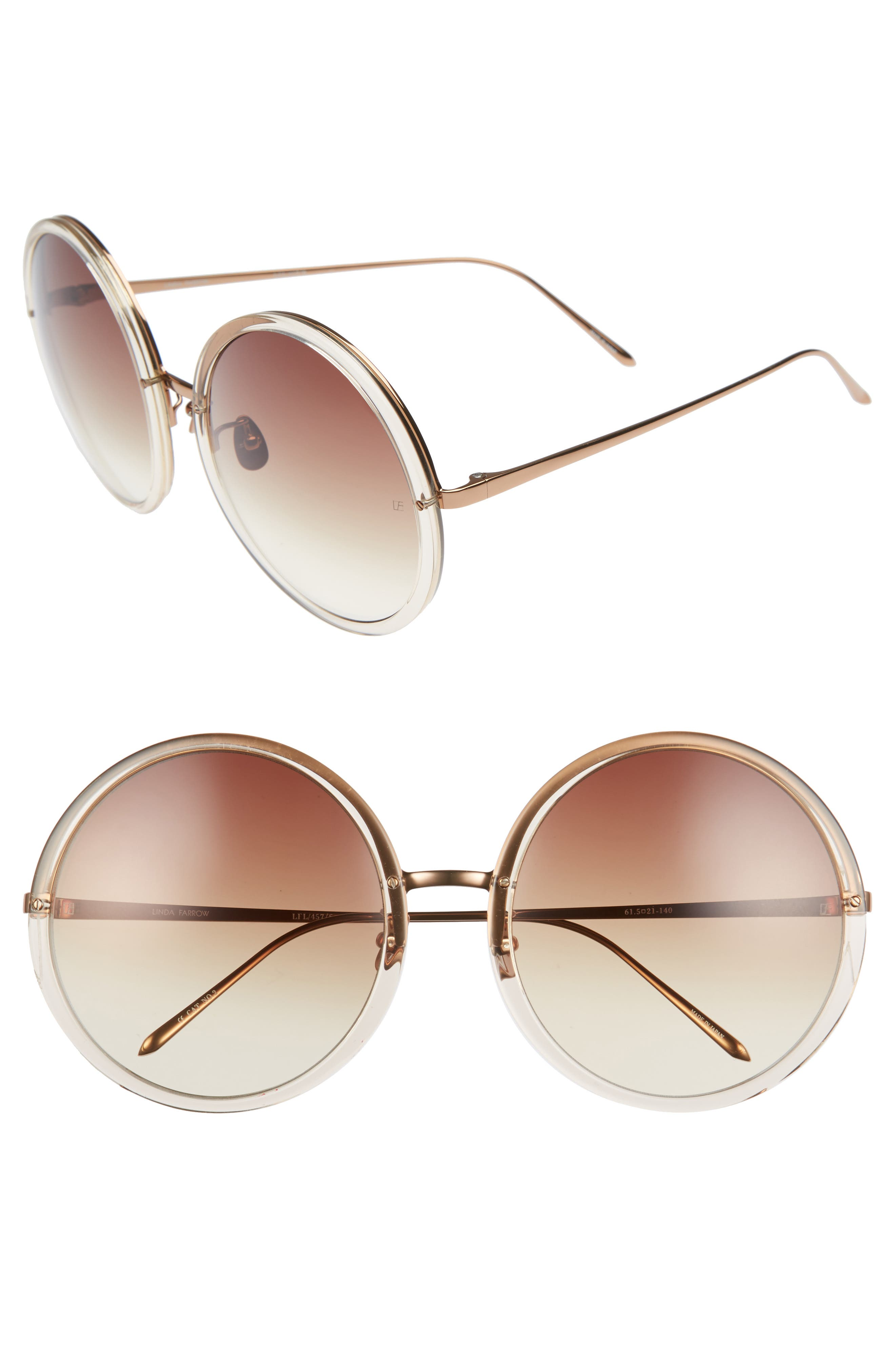 61mm Round 18 Karat Gold Trim Sunglasses,                         Main,                         color, 020