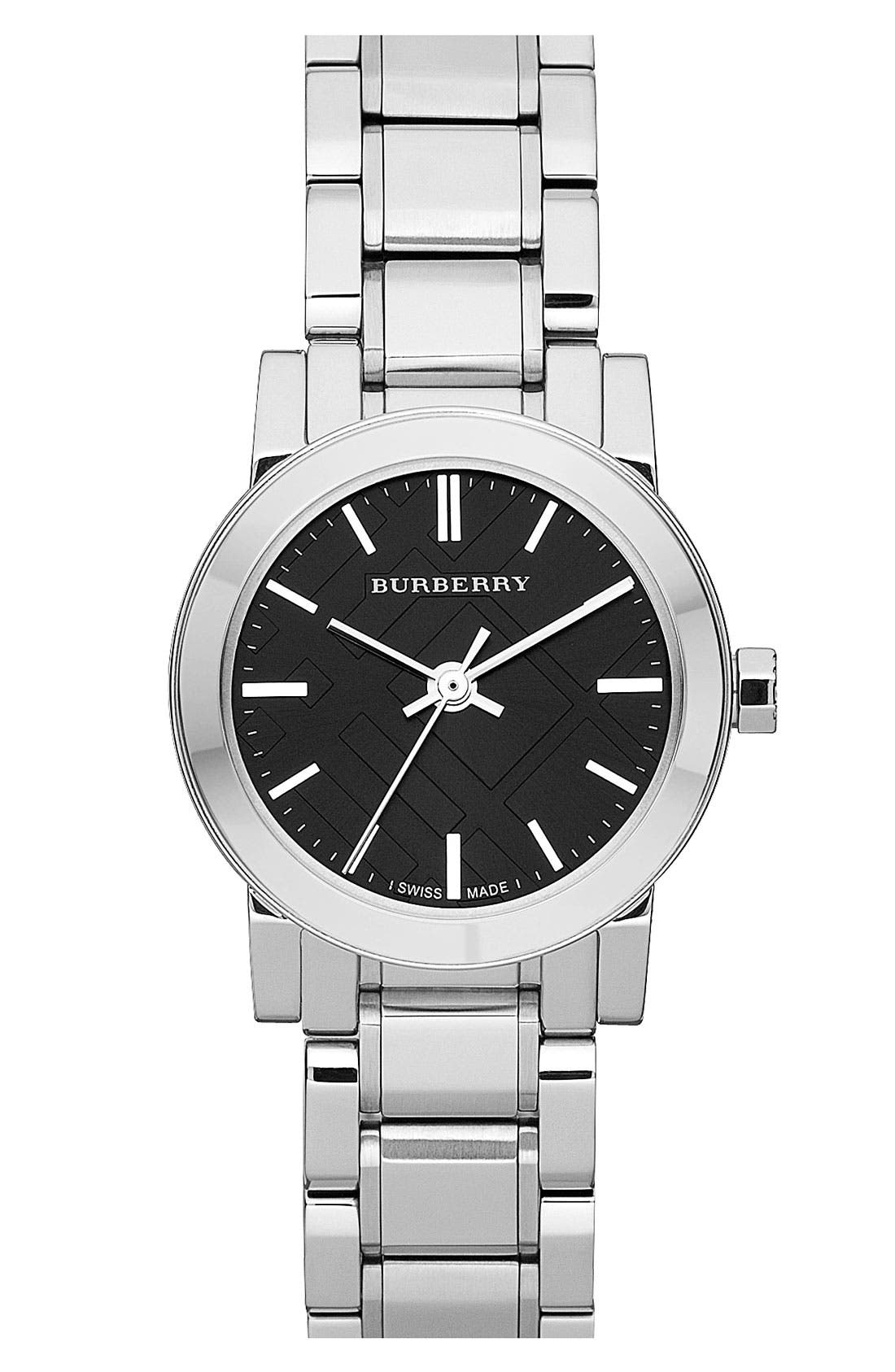 Small Check Stamped Bracelet Watch, 26mm,                             Main thumbnail 2, color,